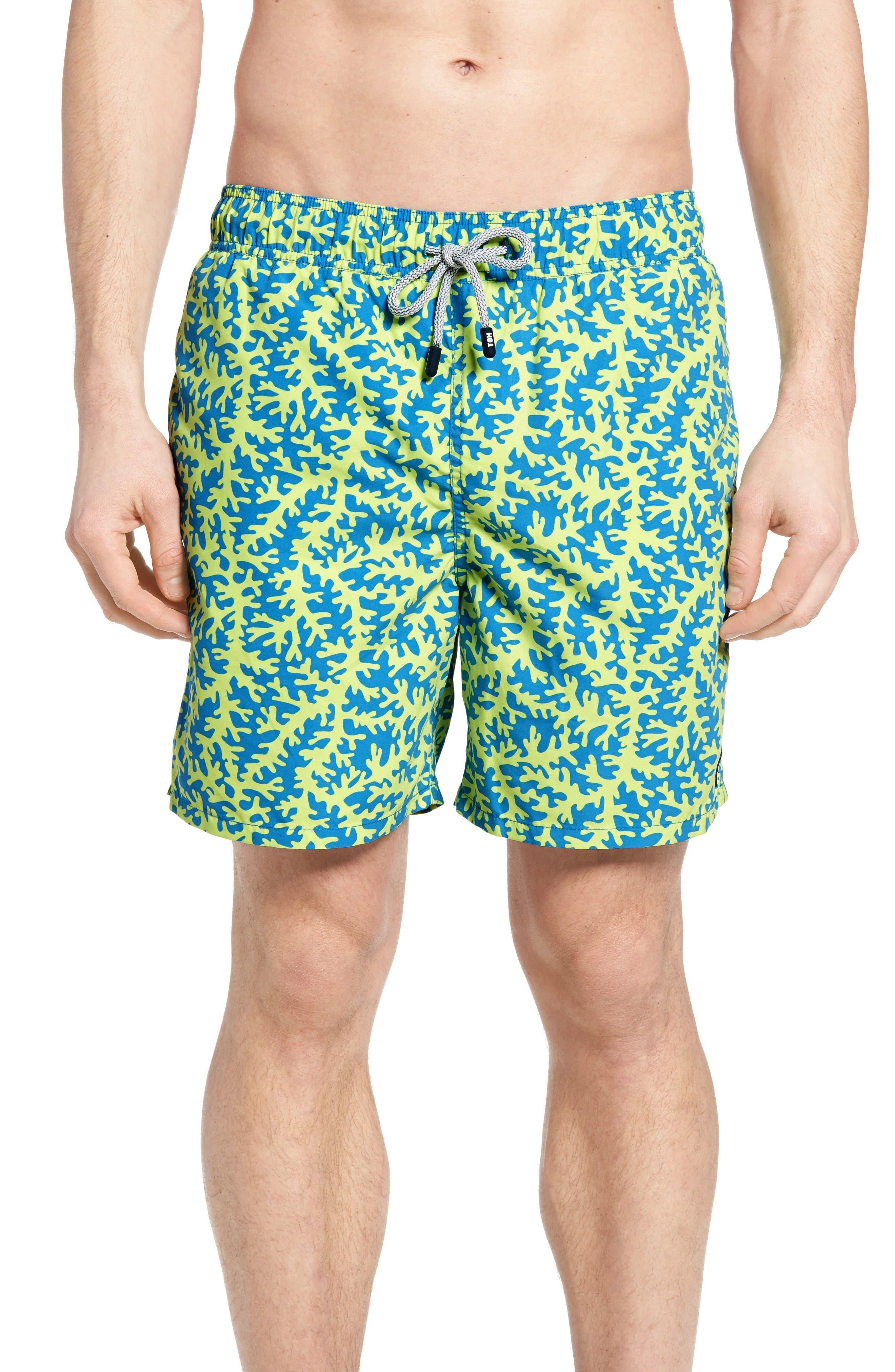 TOM & TEDDY Coral Print Swim Trunks