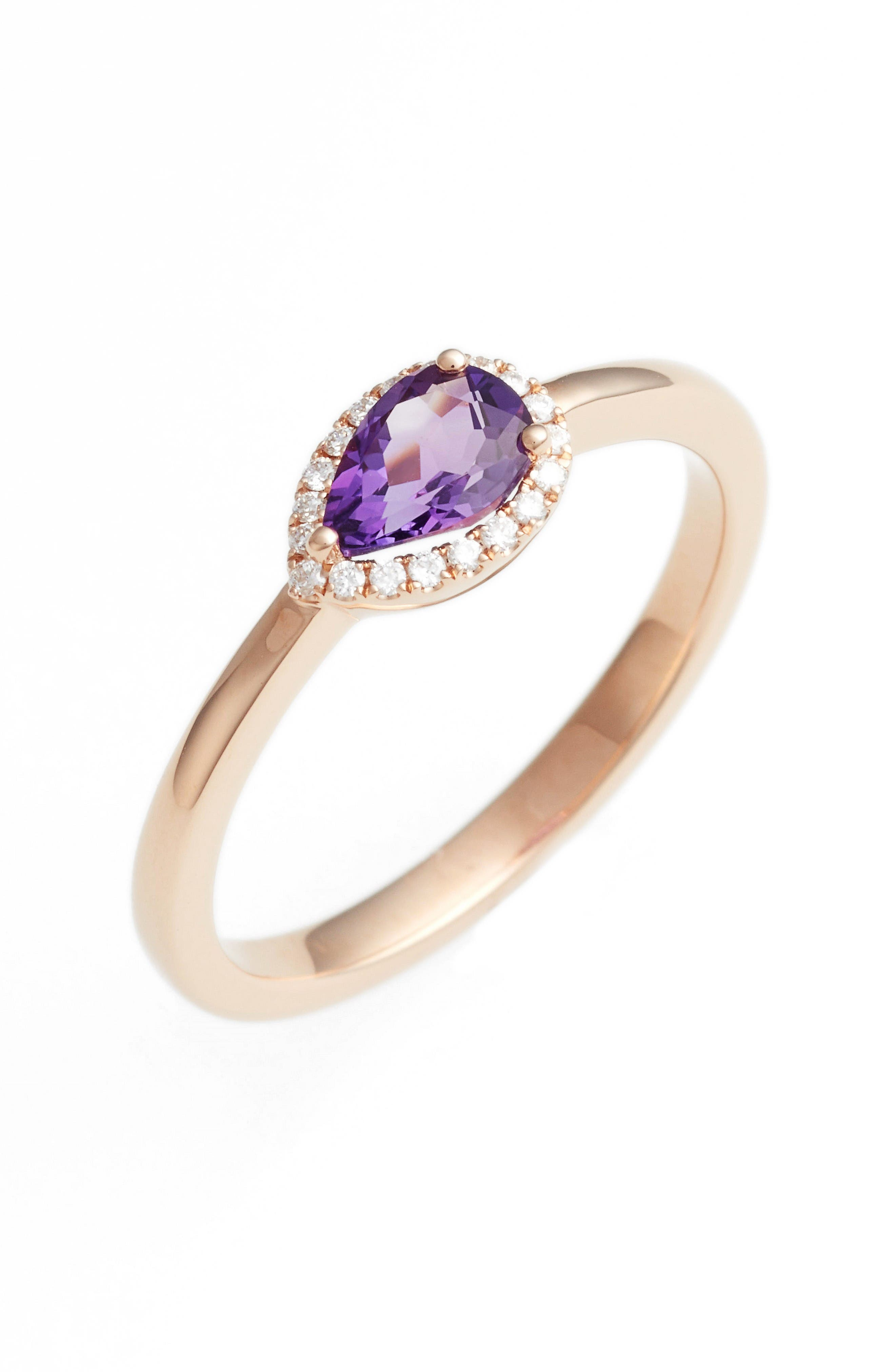 Iris Diamond & Semiprecious Stone Teardrop Ring,                             Main thumbnail 1, color,                             Rose Gold/ Purple Amethyst