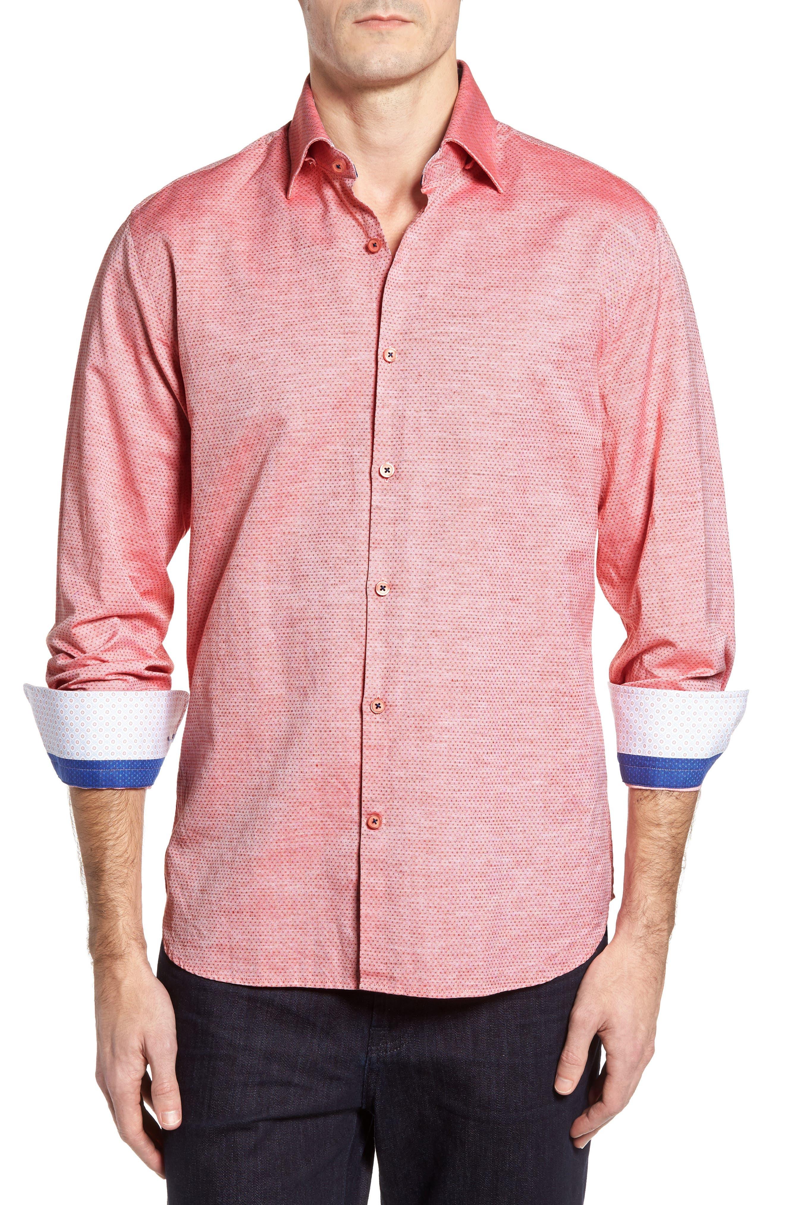 Dobby Cotton & Linen Sport Shirt,                         Main,                         color, Coral