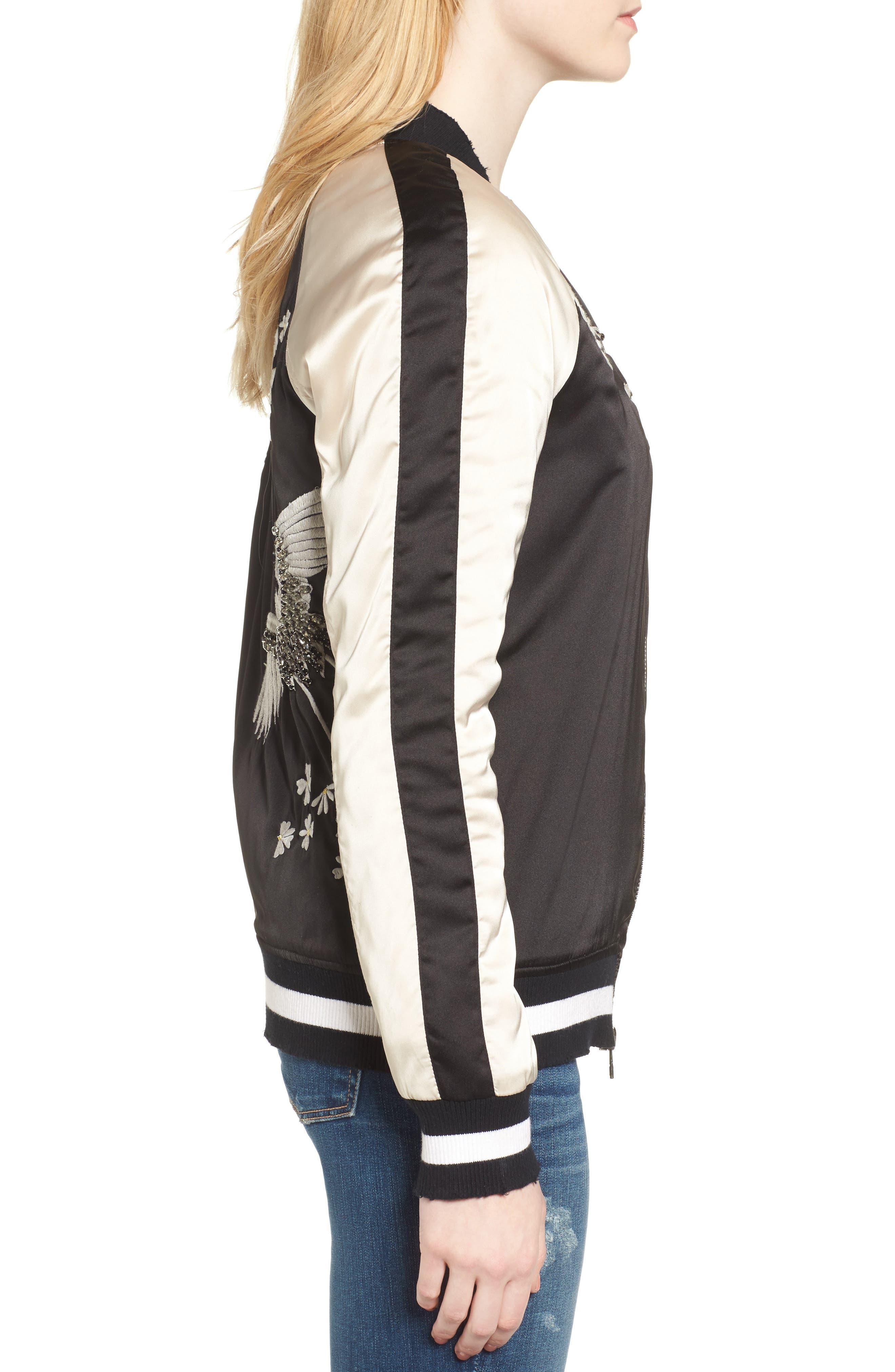 Alternate Image 3  - Pam & Gela Embellished Satin Bomber Jacket