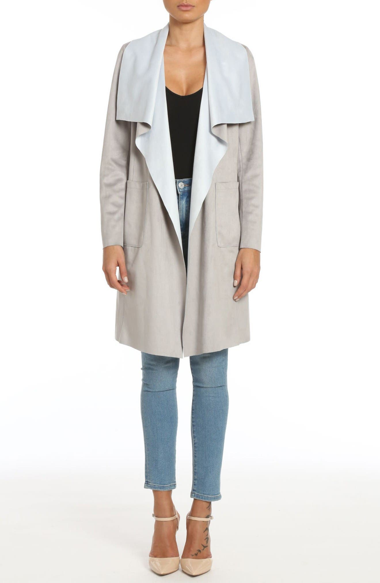 Main Image - Badgley Mischka Colorblock Faux Suede Draped Coat