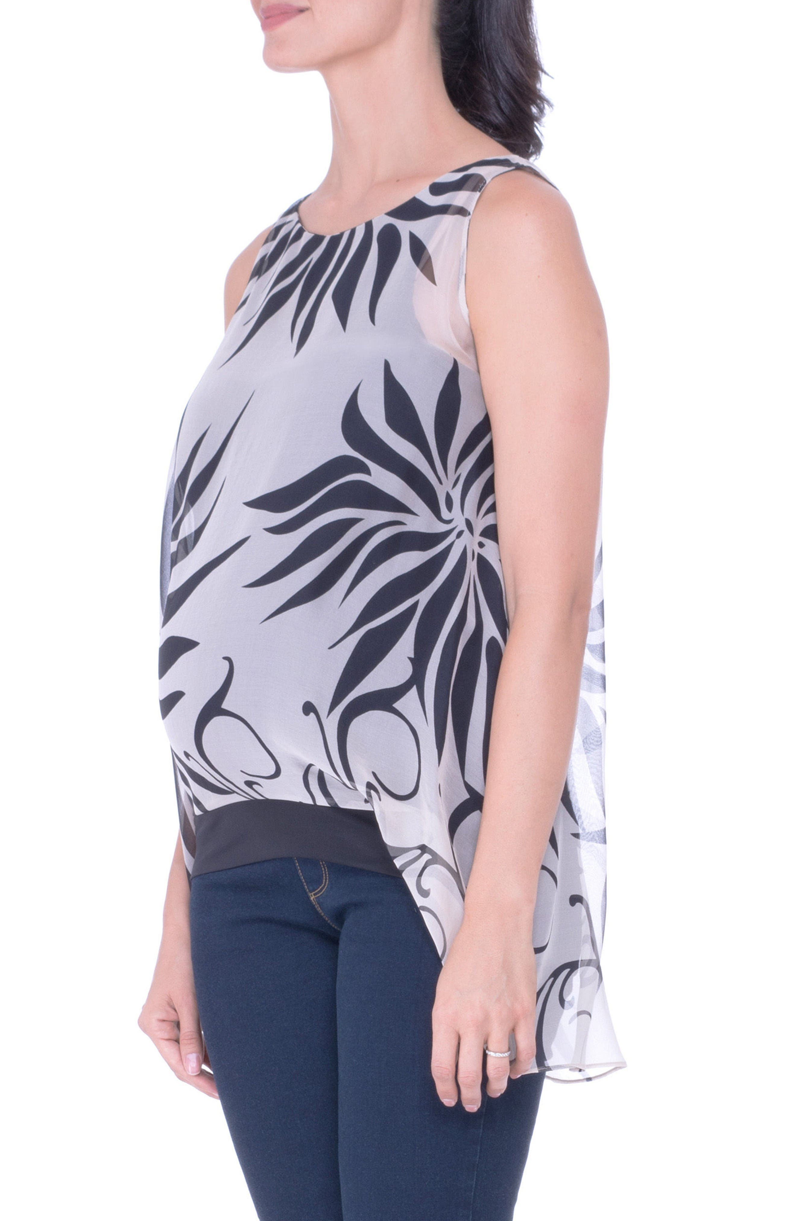 High/Low Maternity Tank,                             Alternate thumbnail 2, color,                             Black/ Ivory