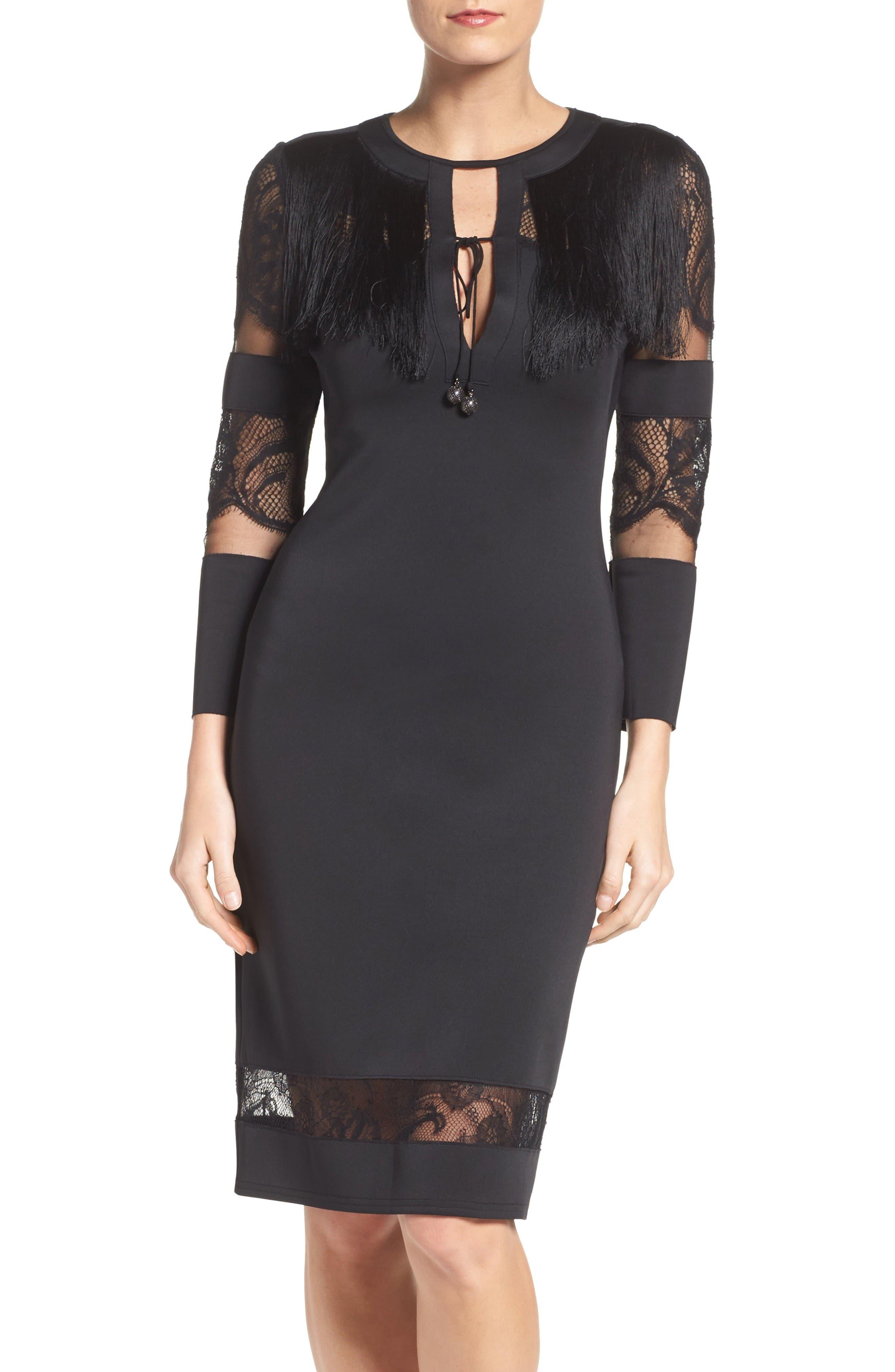 Fringe Sheath Dress,                             Main thumbnail 1, color,                             Black