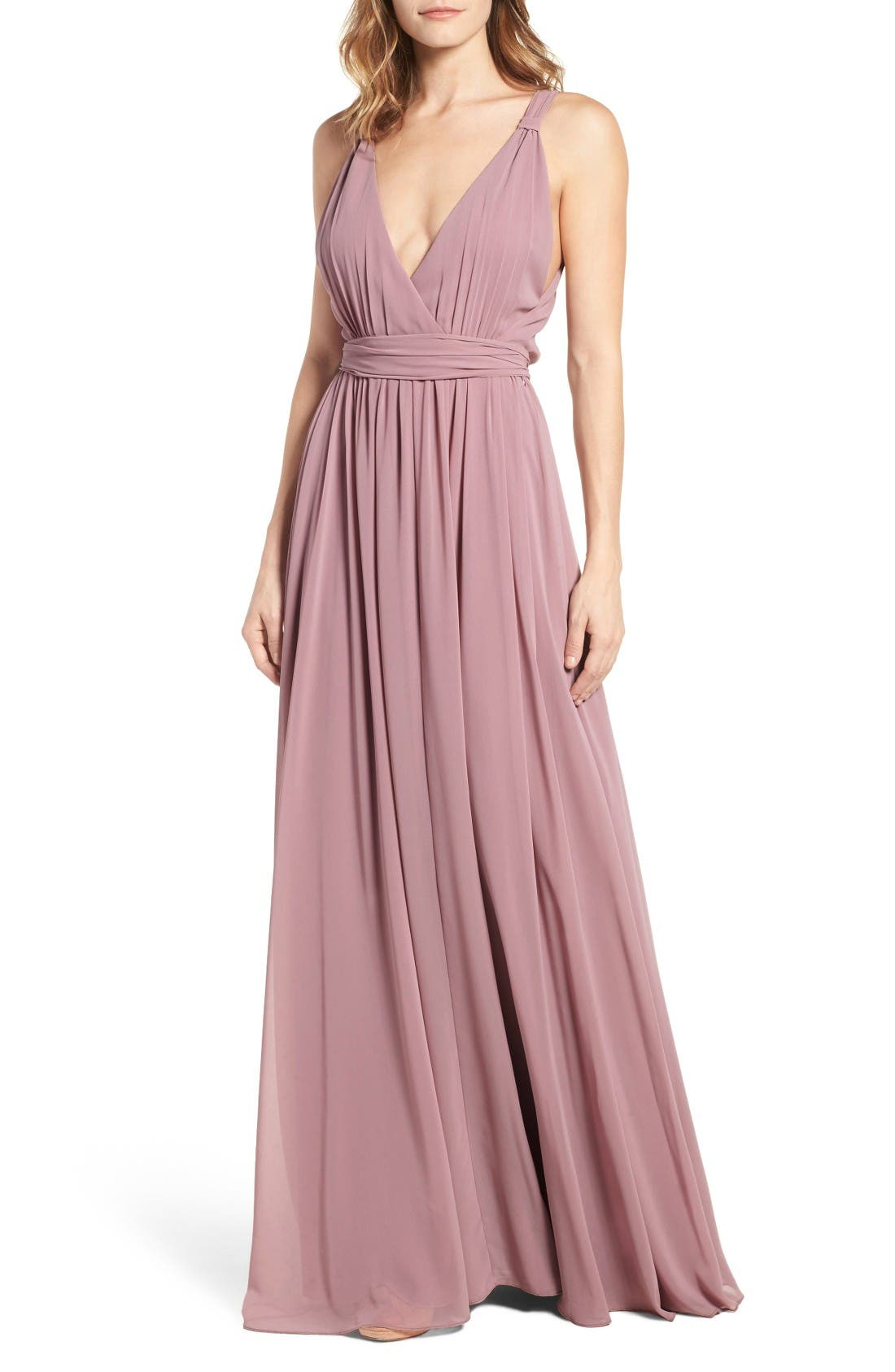 Alternate Image 1 Selected - Ceremony by Joanna August Knot Strap Chiffon Wrap Gown