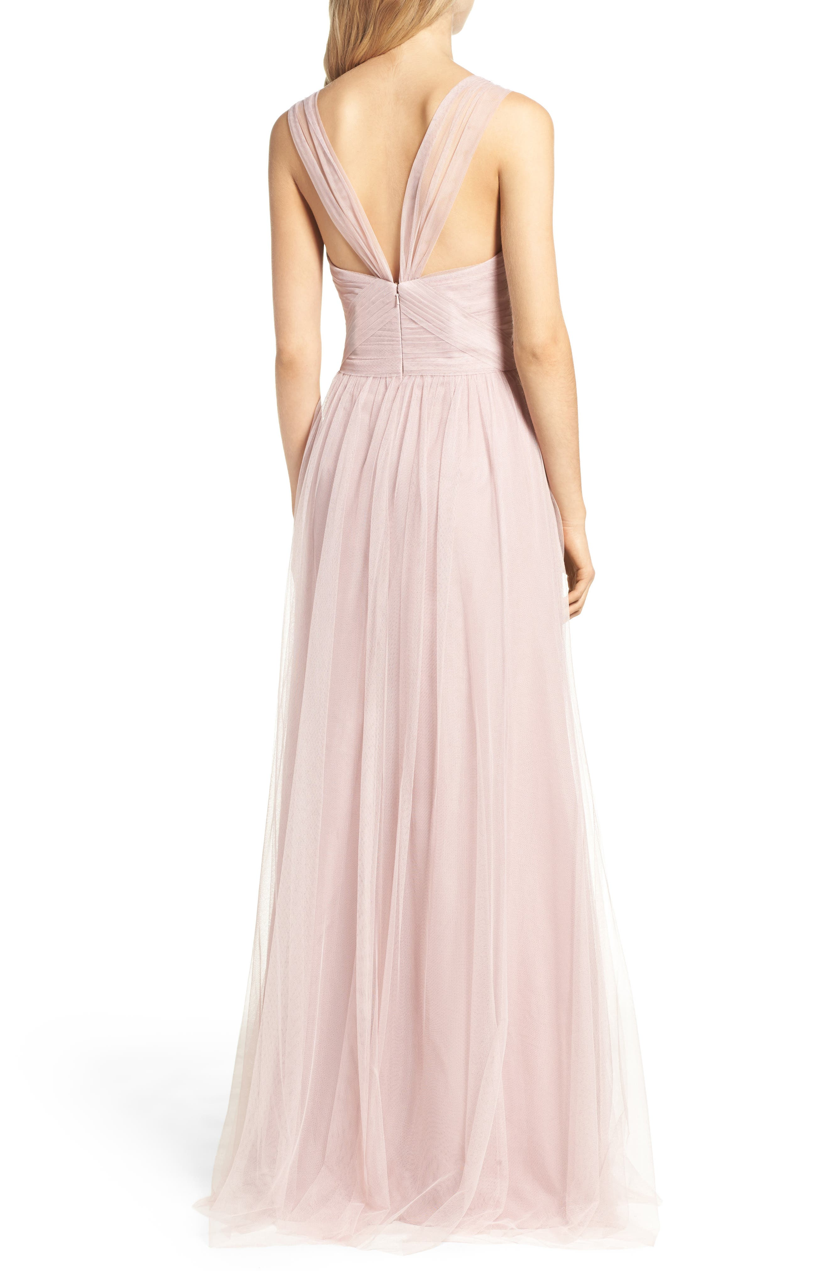 Illusion Gown,                             Alternate thumbnail 3, color,                             Dusty Rose