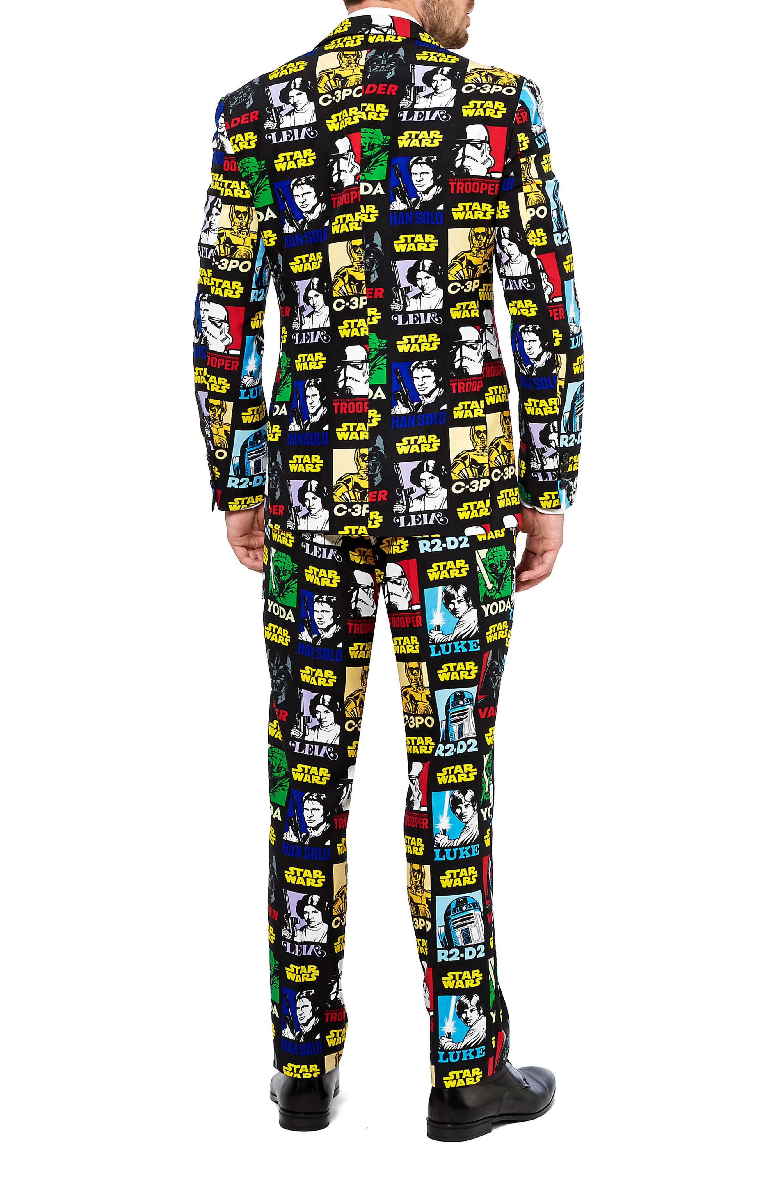 Strong Force Trim Fit Two-Piece Suit with Tie,                             Alternate thumbnail 2, color,                             Black/ Multi