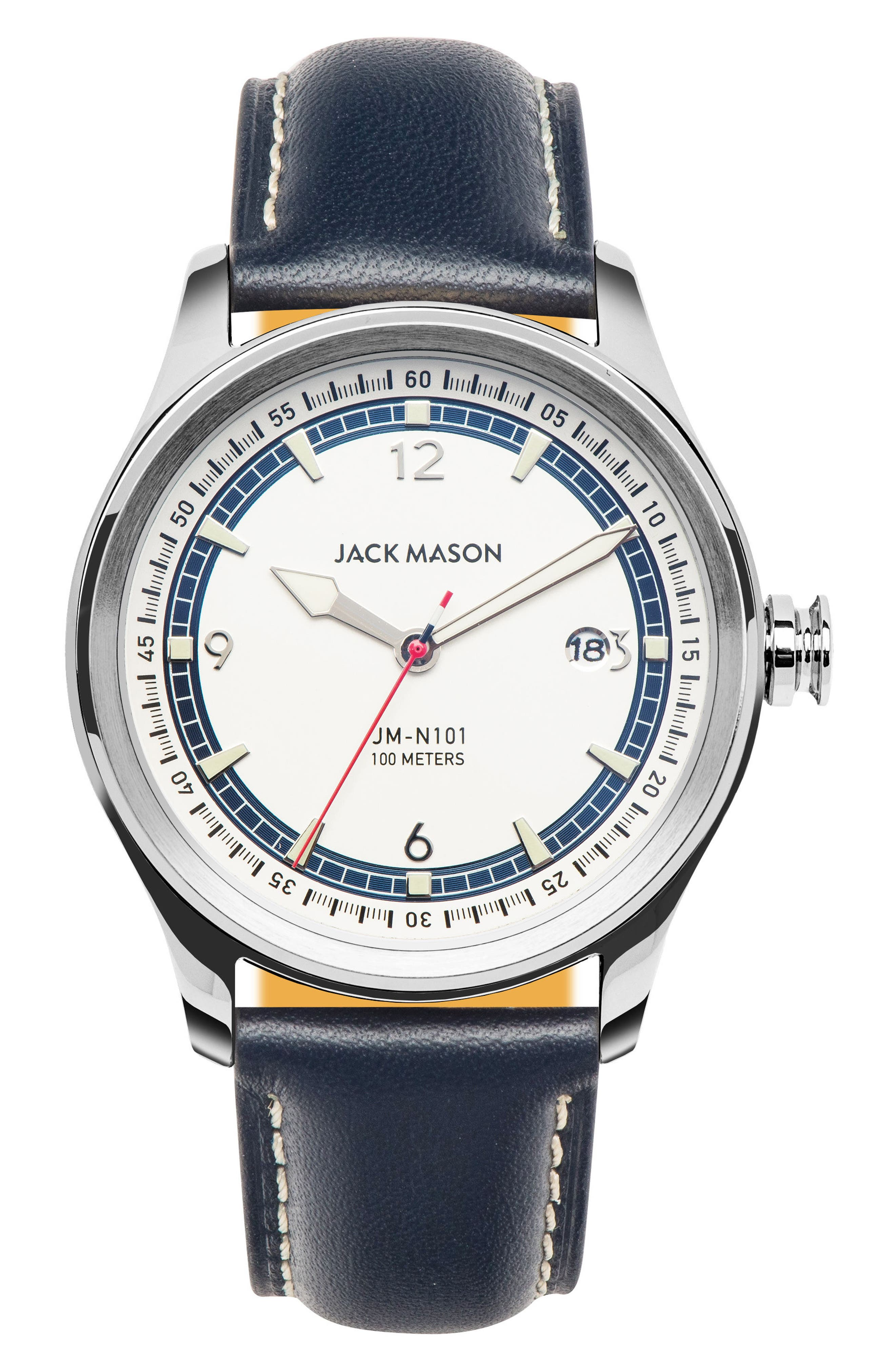 Jack Mason Nautical Leather Strap Watch, 42mm