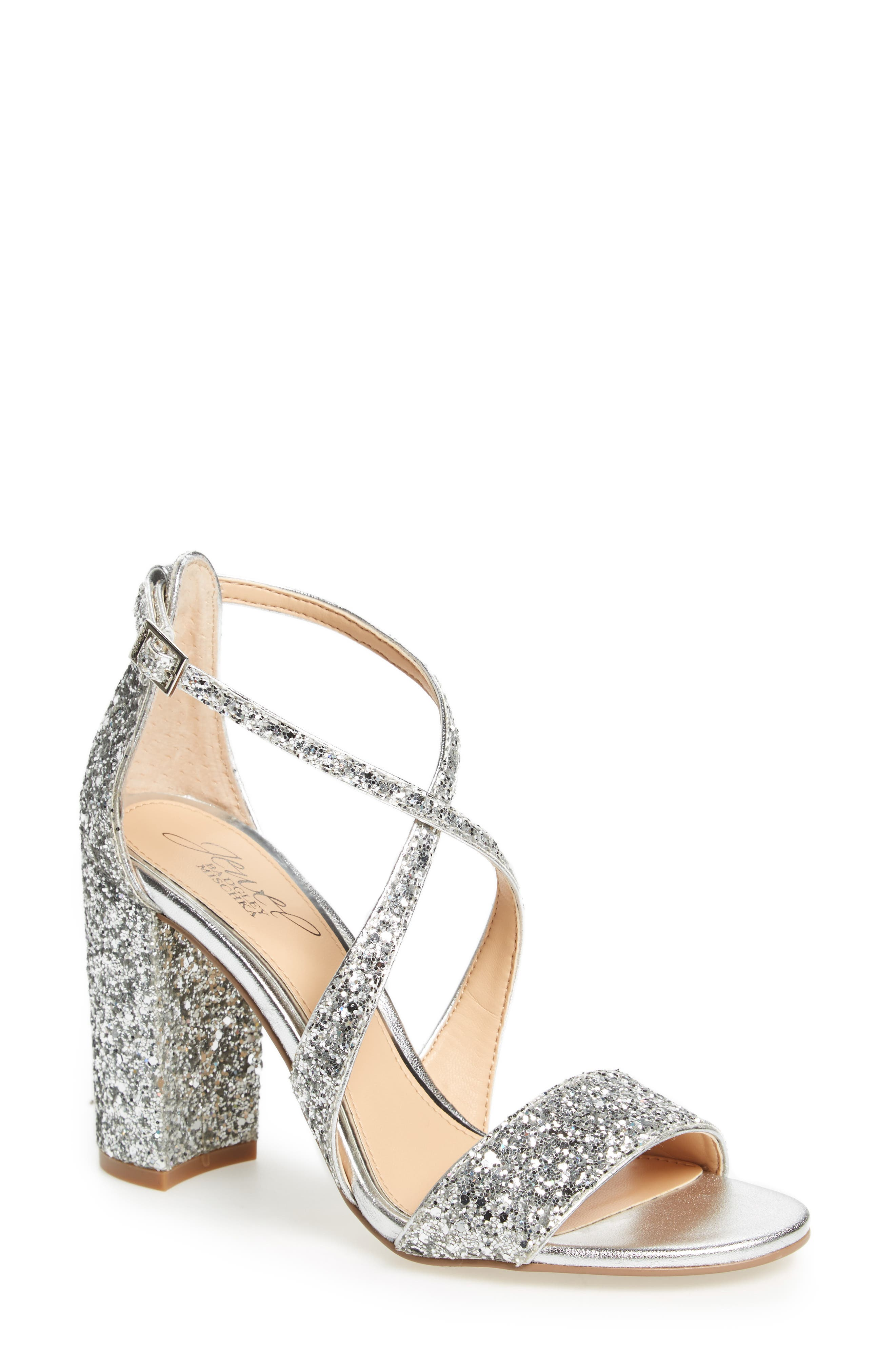 Cook Block Heel Glitter Sandal,                         Main,                         color, Silver Leather