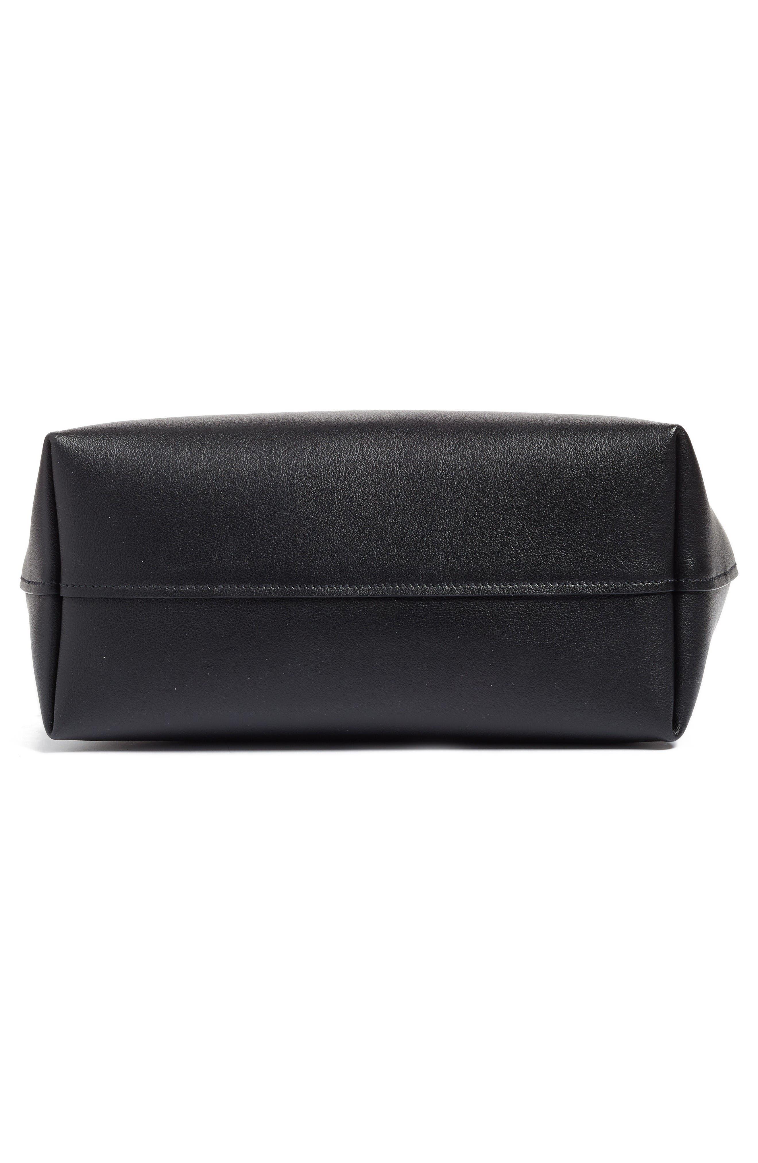 Small Wave Calfskin Leather Shopper,                             Alternate thumbnail 6, color,                             Nero
