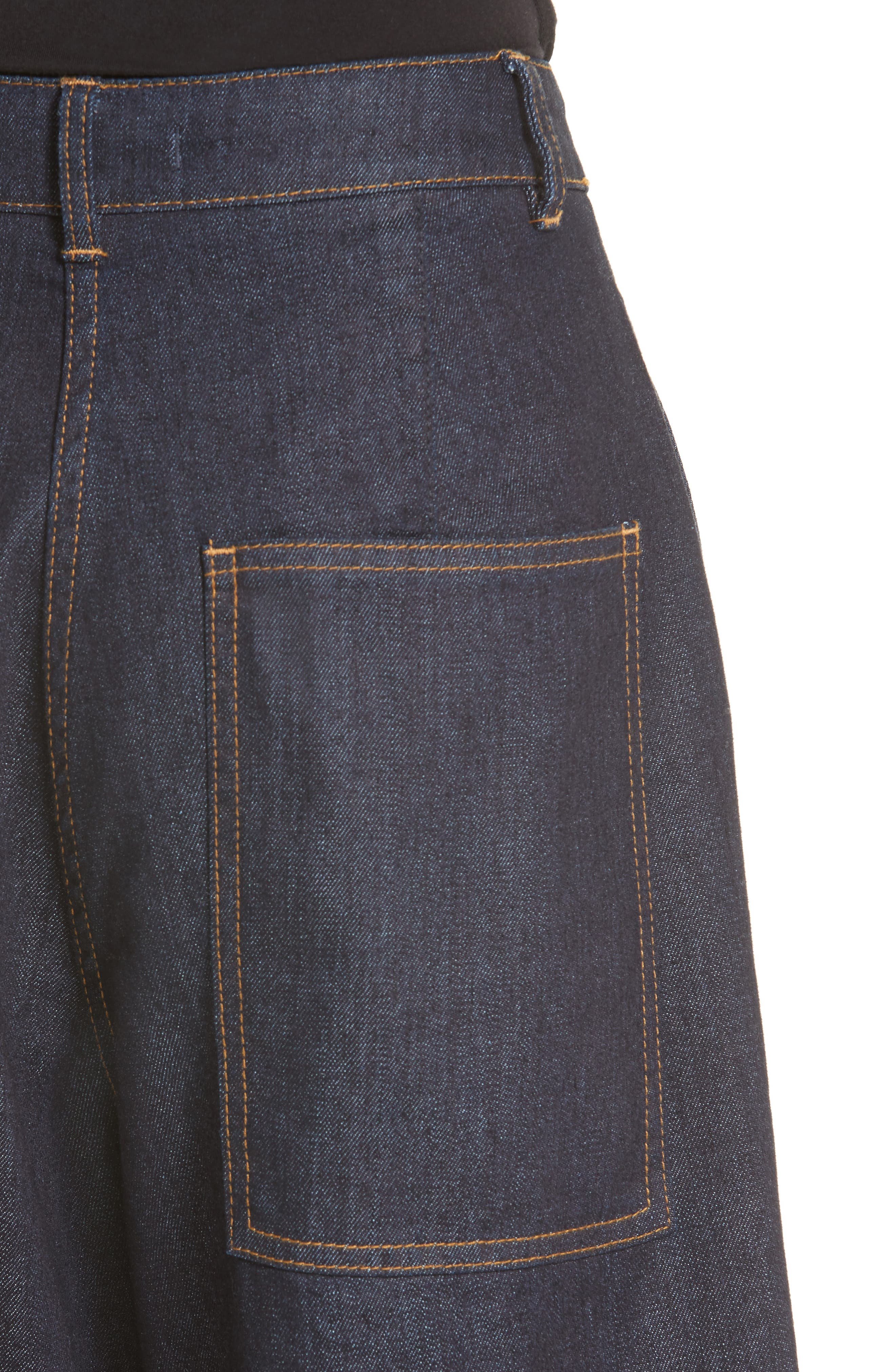 Sam High Waist Culotte Jeans,                             Alternate thumbnail 5, color,                             Dark Denim