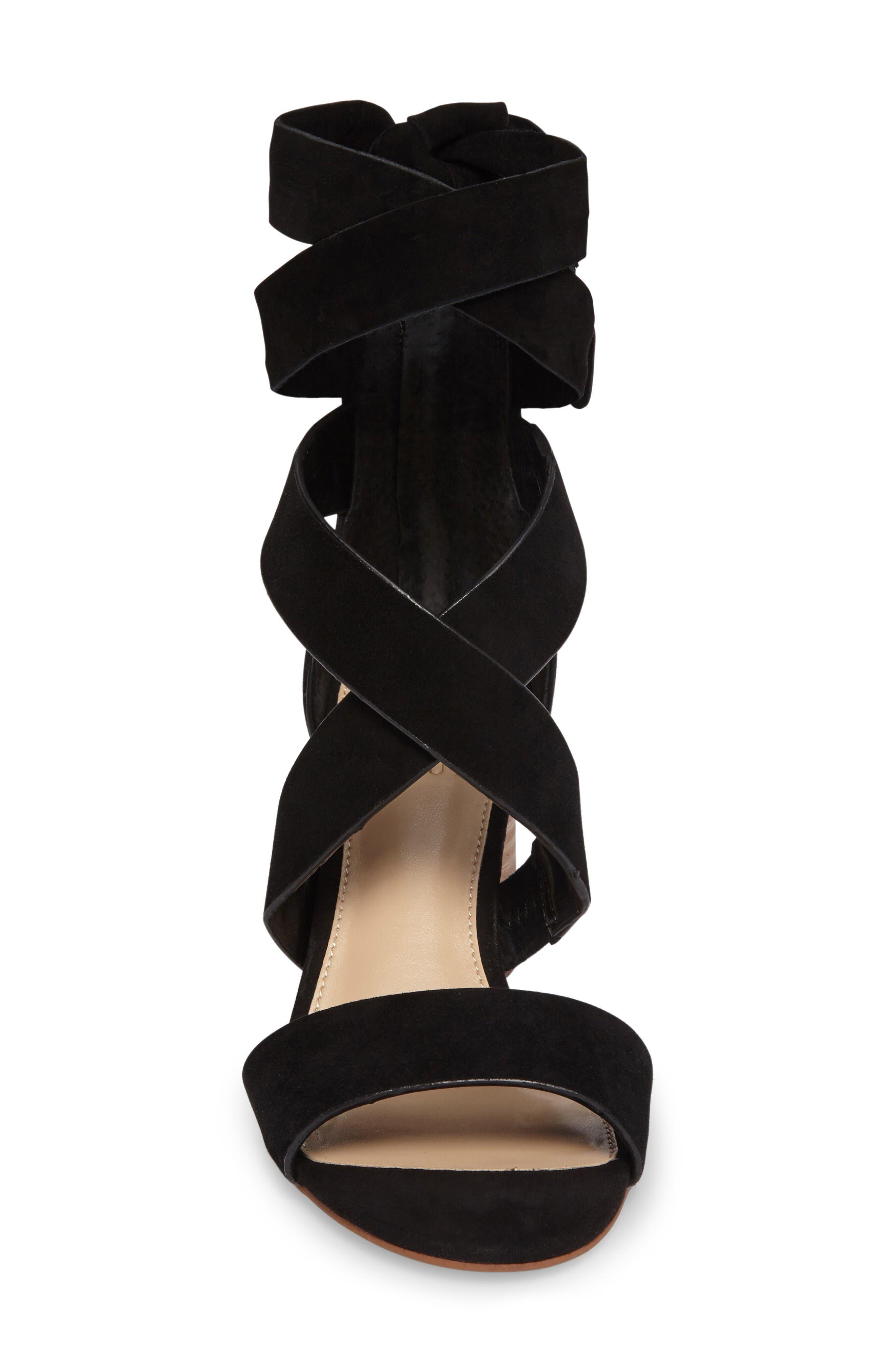 Jeneve Block Heel Sandal,                             Alternate thumbnail 3, color,                             Black Suede
