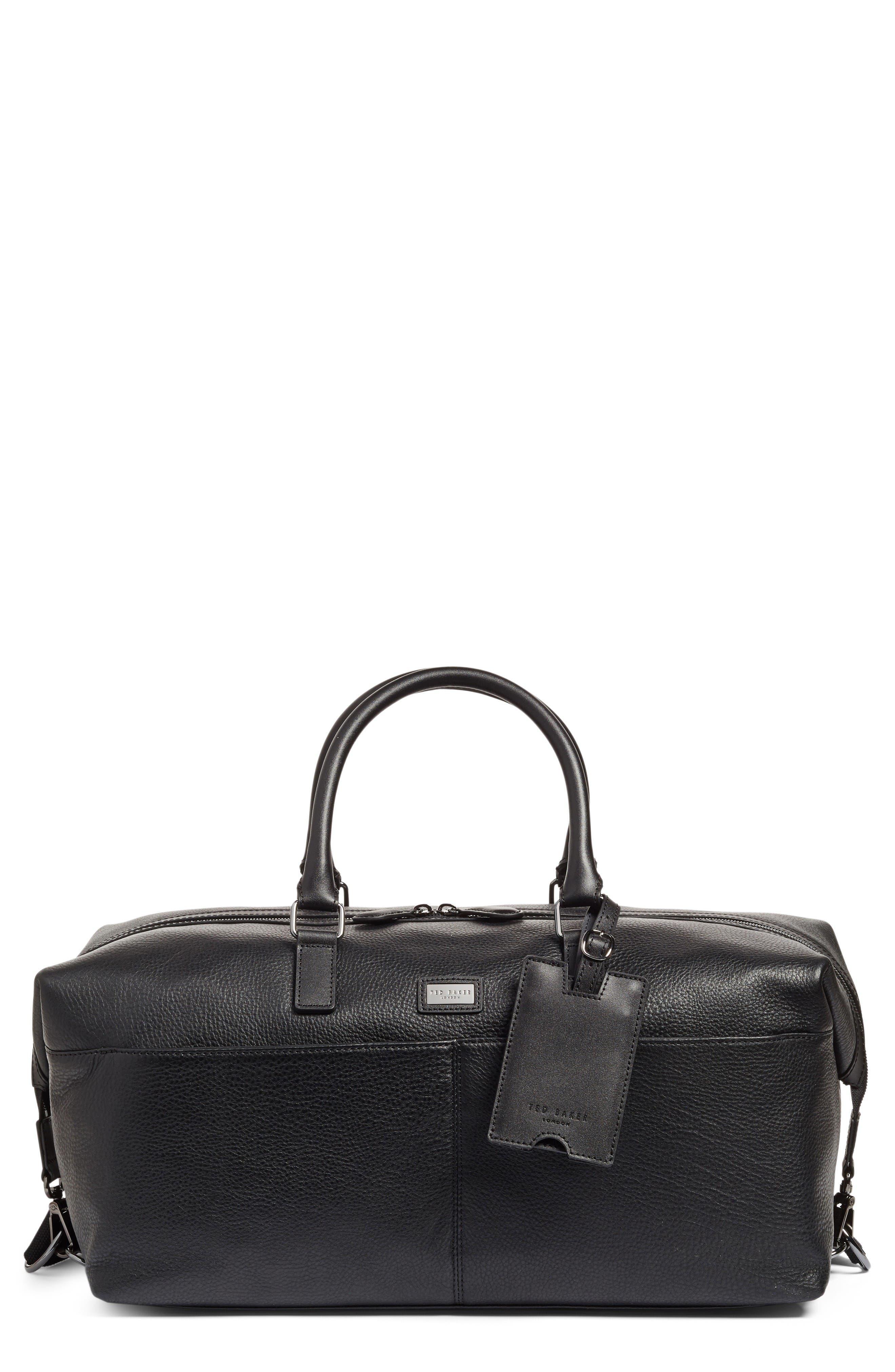 Leather Duffel Bag,                         Main,                         color, Black