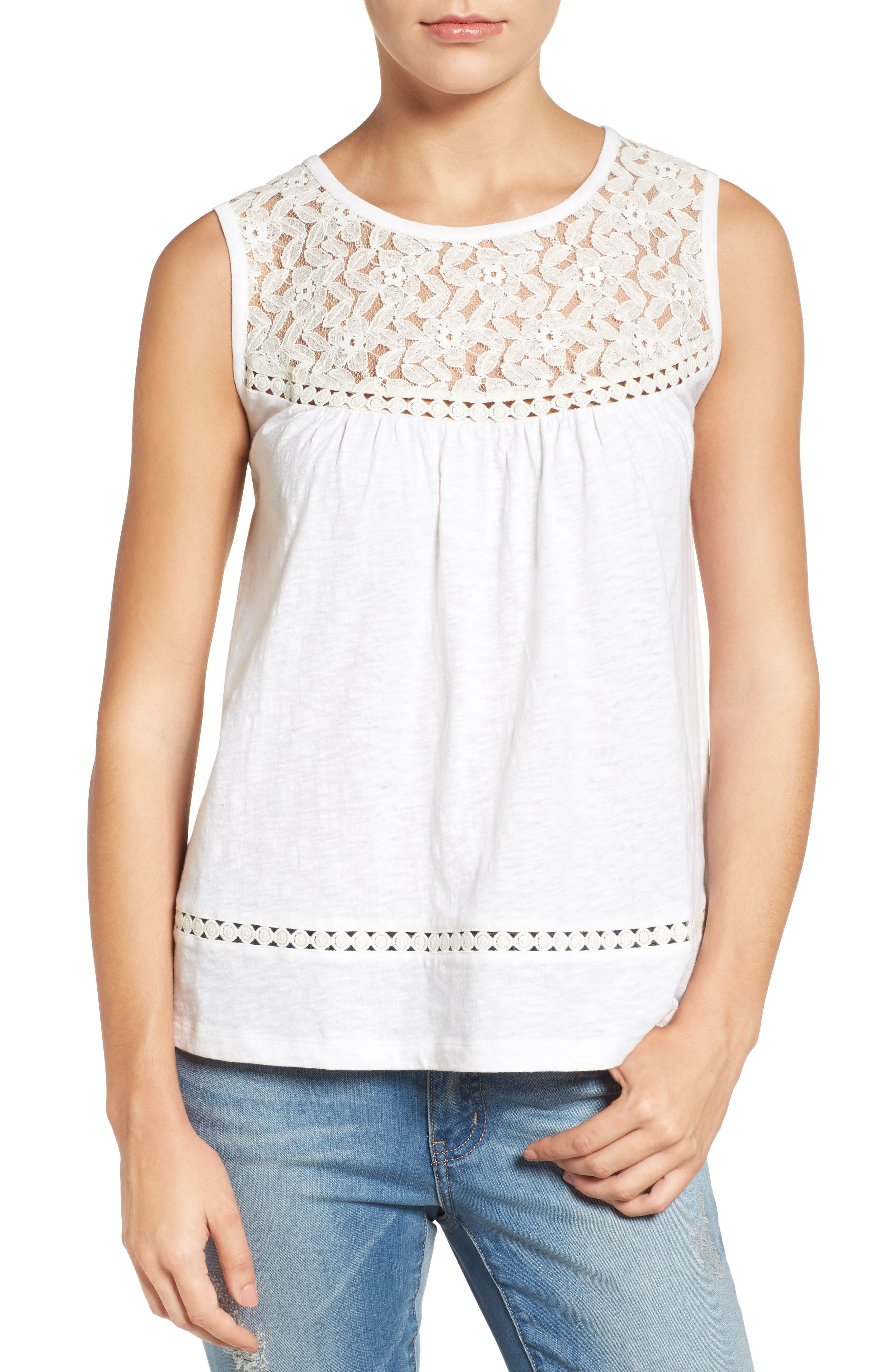The Best Ribbon Lace Trim Slub Top Womens Cream Online Store