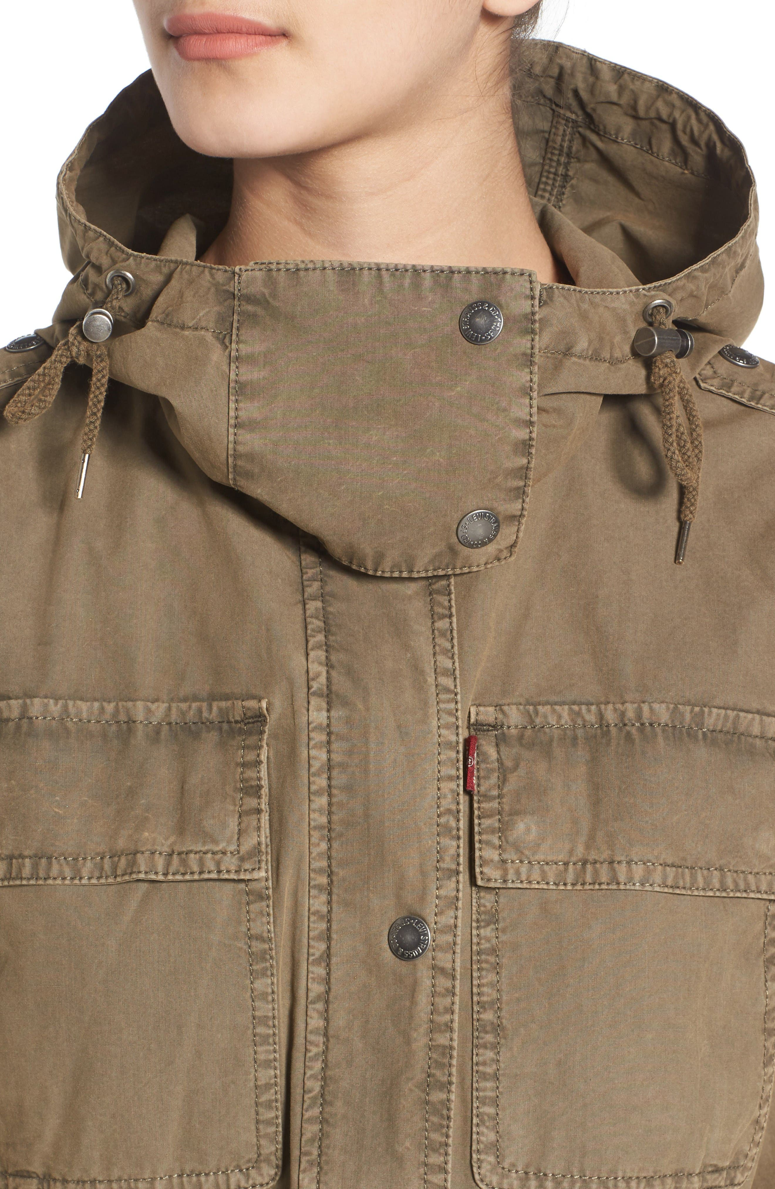 Parachute Cotton Hooded Utility Jacket,                             Alternate thumbnail 5, color,                             Khaki