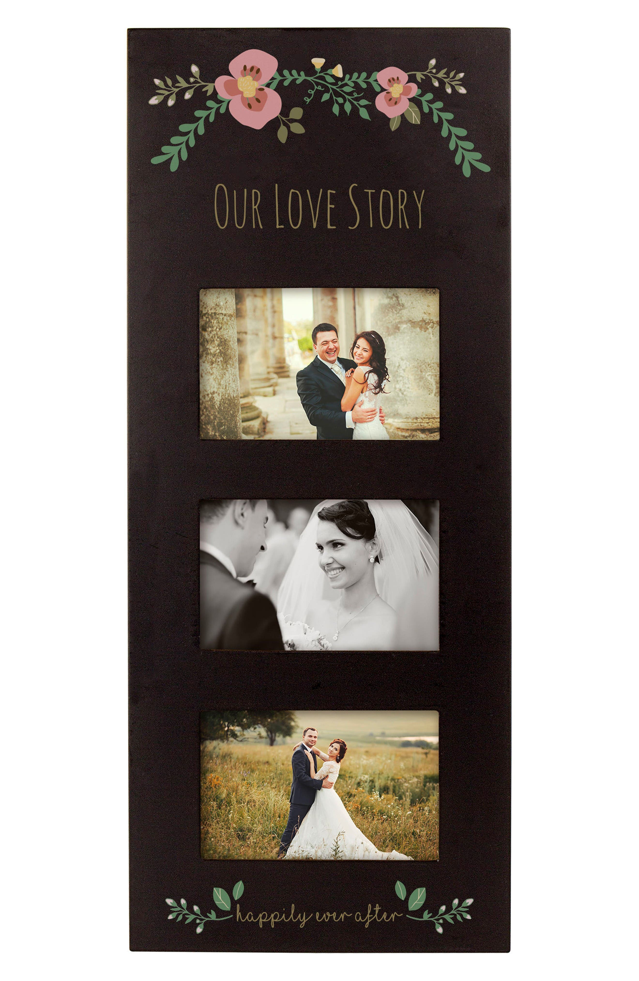 Floral Love Story 3-Window Picture Frame,                             Main thumbnail 1, color,                             Black