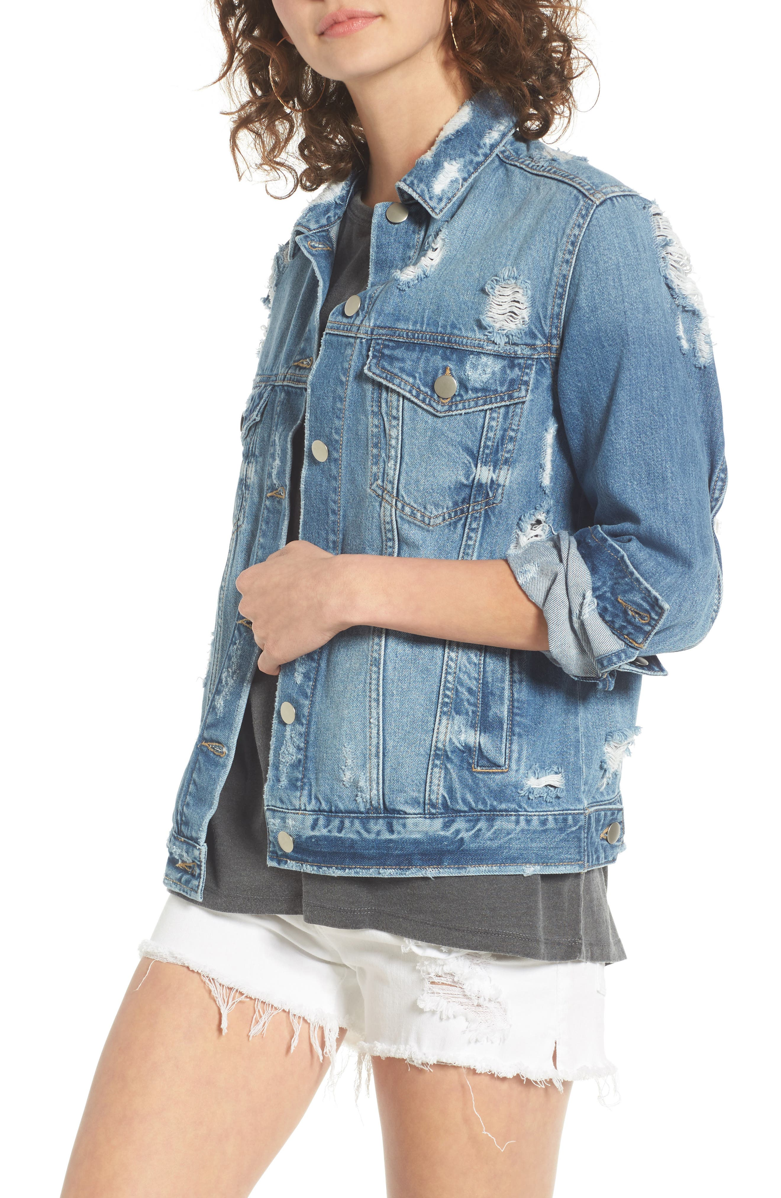 Main Image - BP. Ripped Denim Jacket