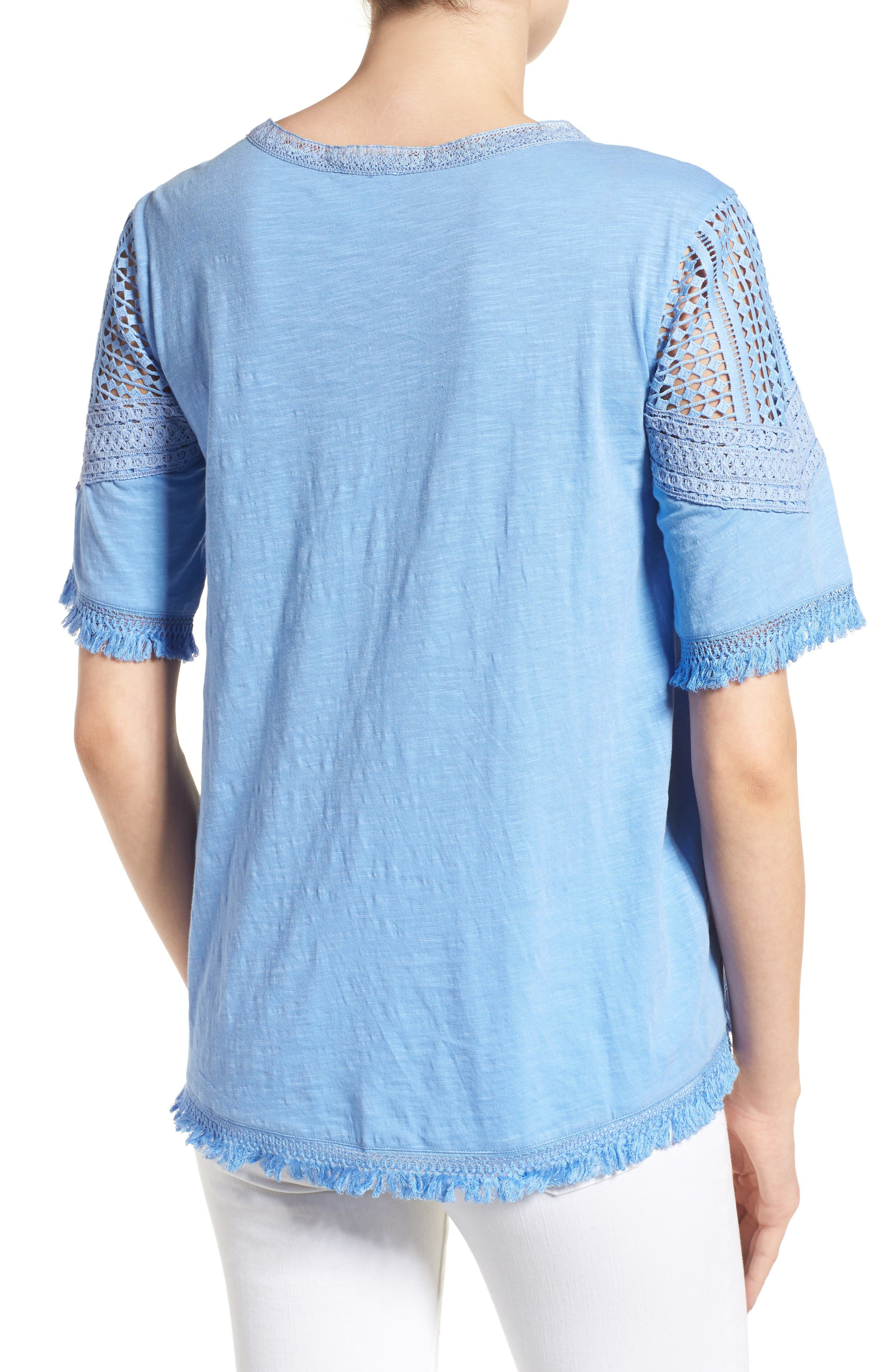 Alternate Image 2  - Caslon® Fringed Lace & Knit Tee (Regular & Petite)