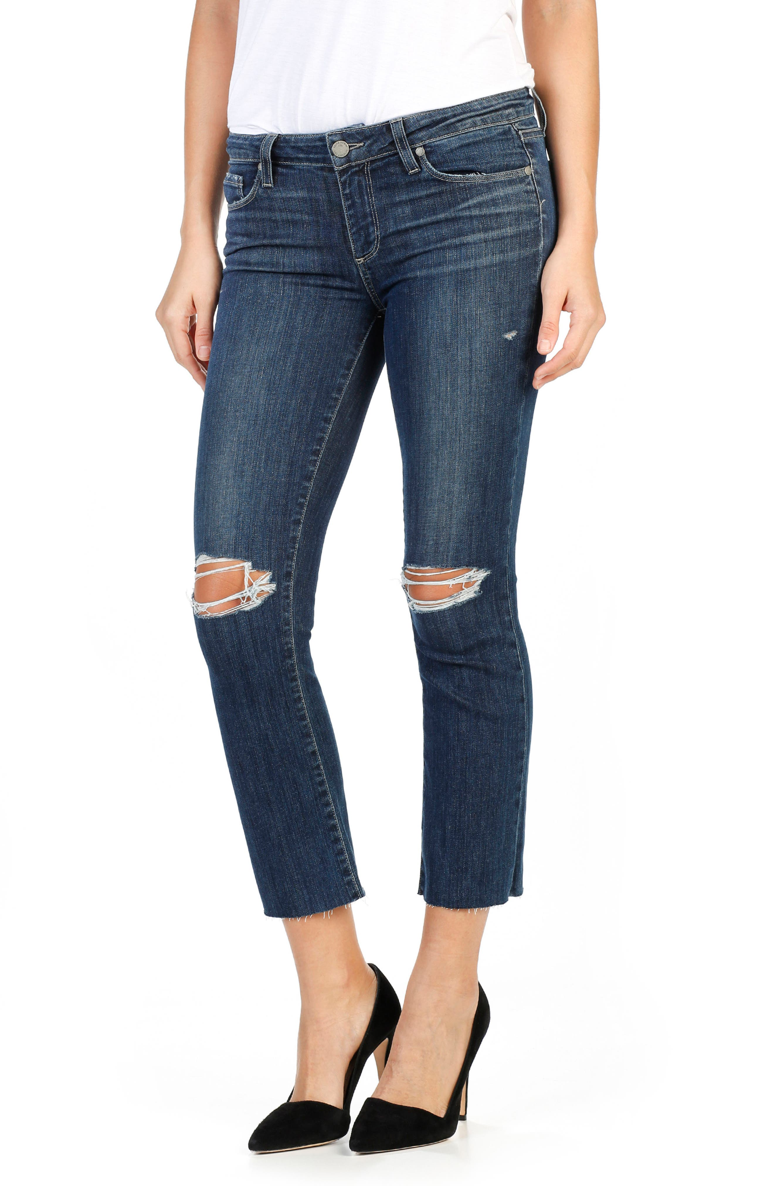 PAIGE Legacy - Colette High Waist Raw Hem Crop Flare Jeans (Donna Destructed)