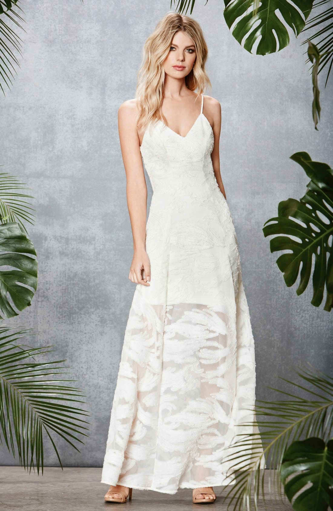 'Florence' Woven Fit & Flare Gown,                             Alternate thumbnail 2, color,                             Ivory