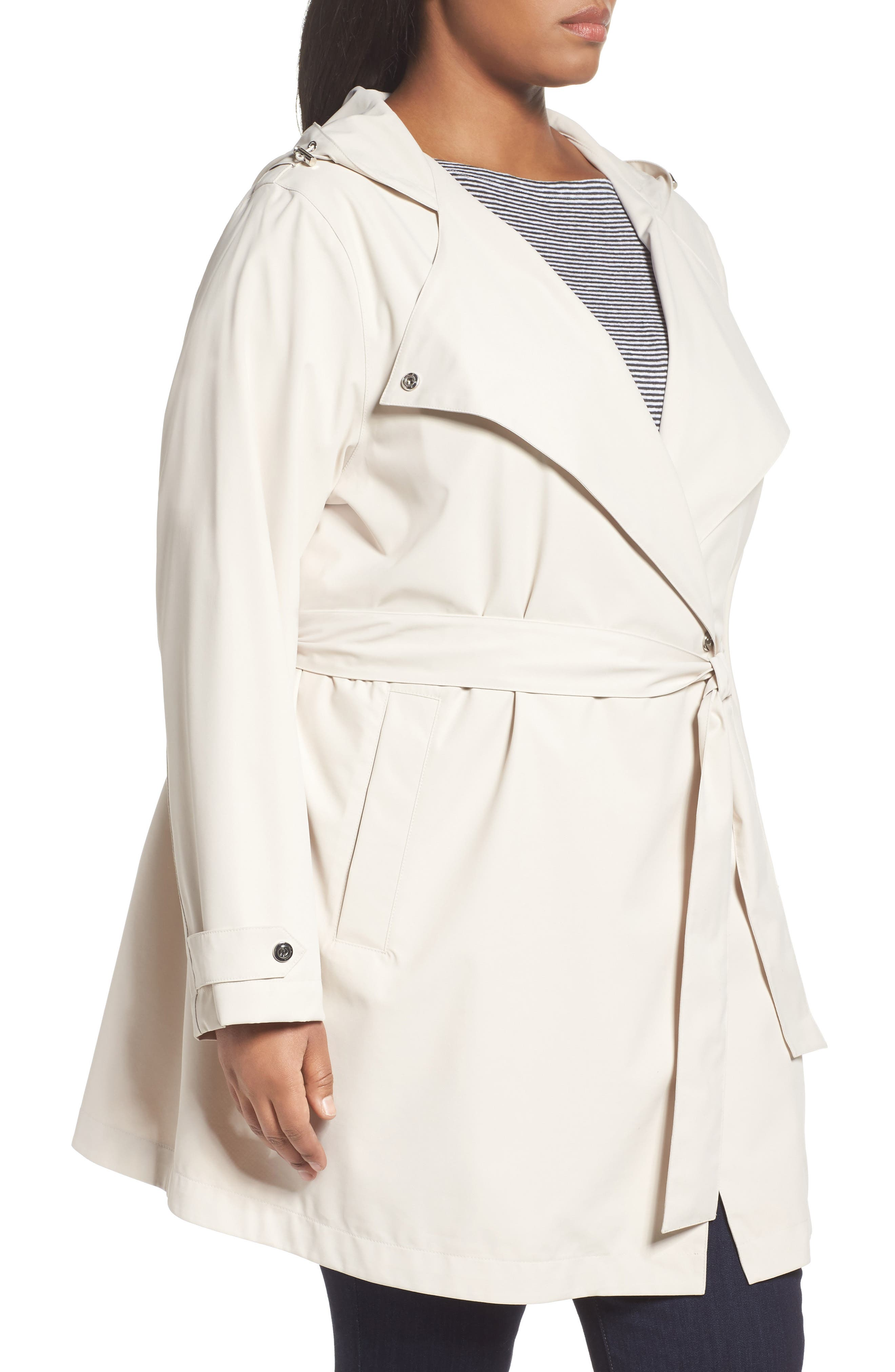 Breathable Microfiber Trench Coat,                             Alternate thumbnail 3, color,                             Beige