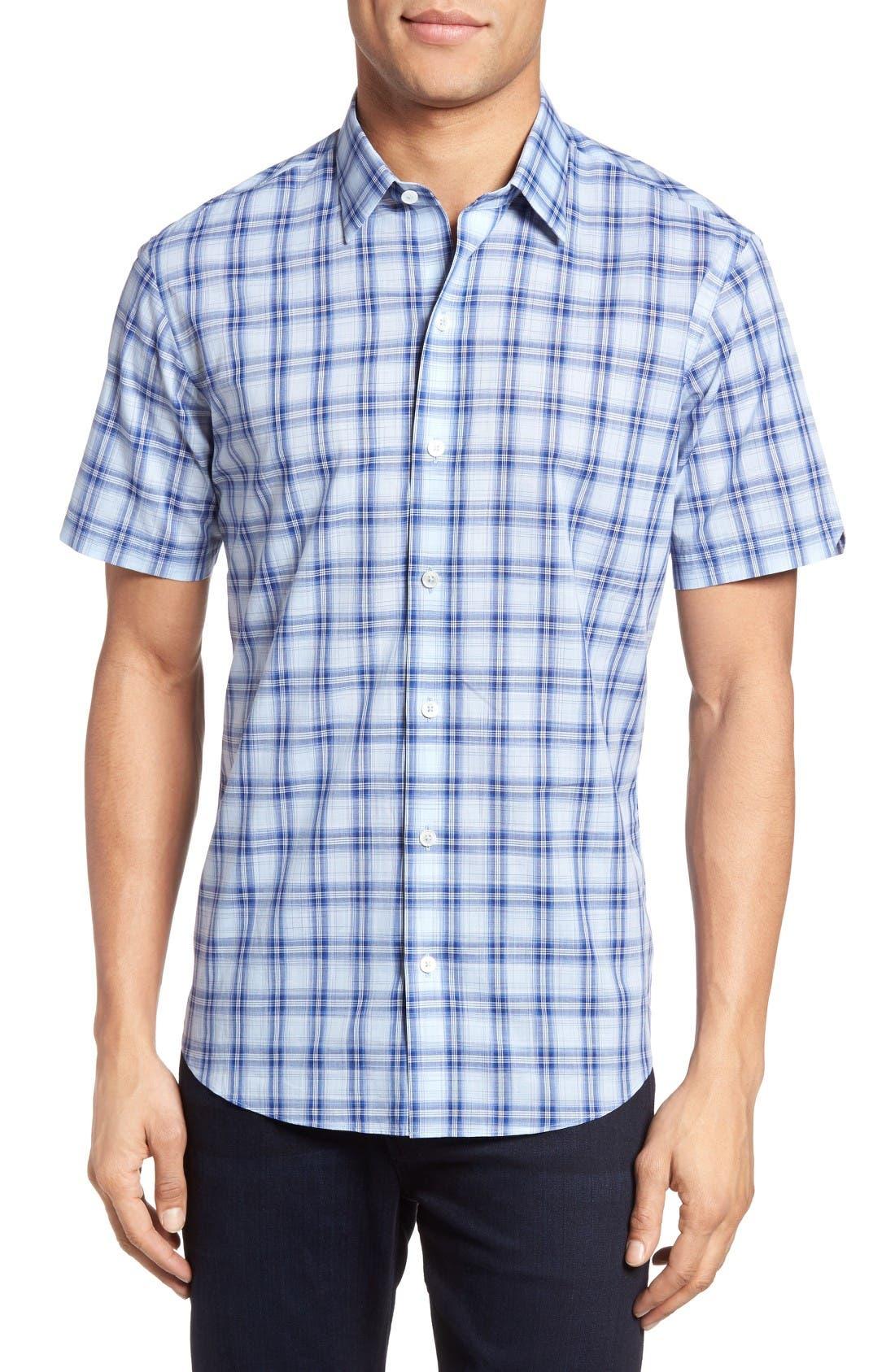 Hwang Trim Fit Plaid Sport Shirt,                         Main,                         color, Pale Blue