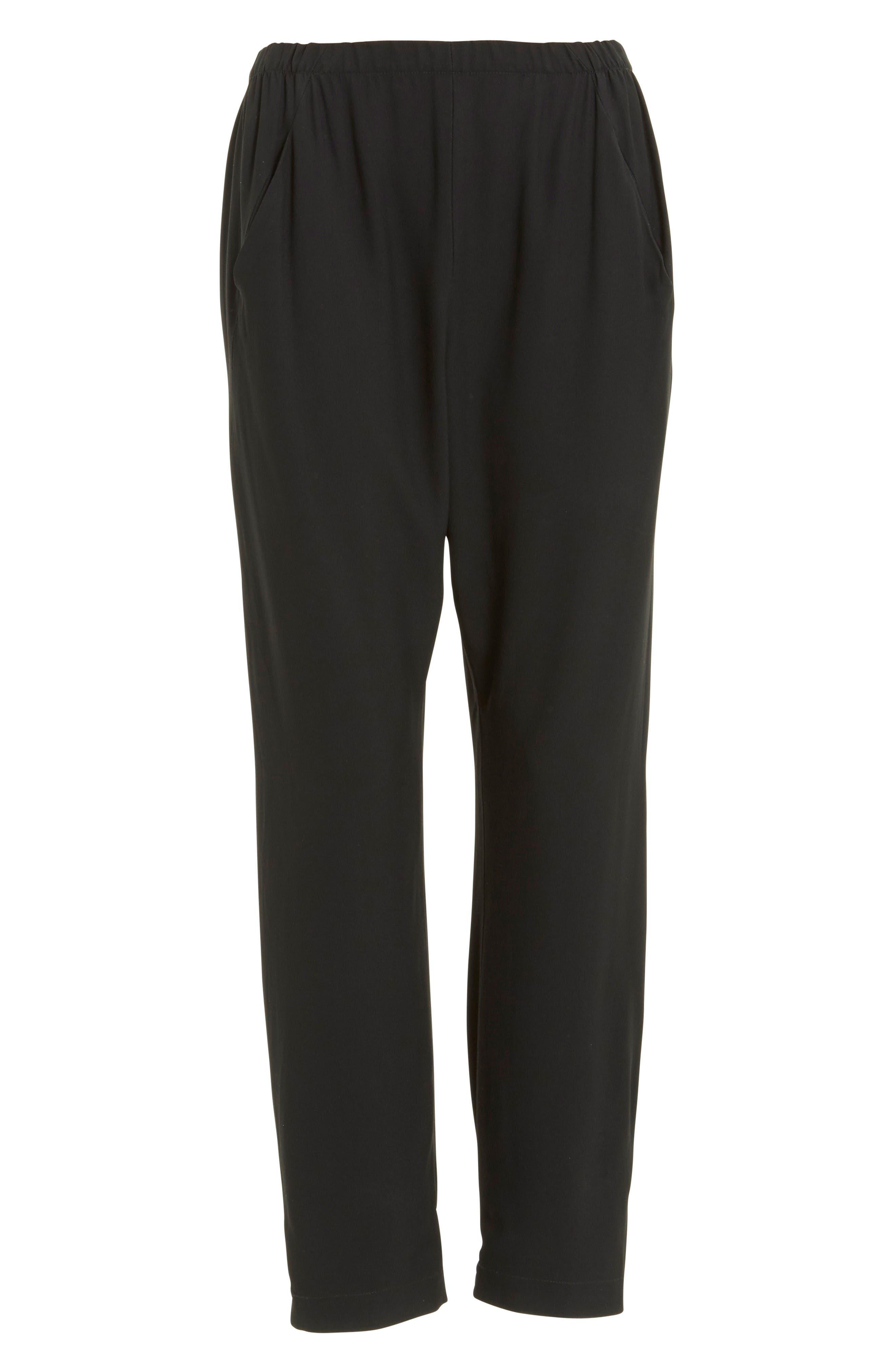 Gabi Drape Trousers,                             Alternate thumbnail 4, color,                             Black