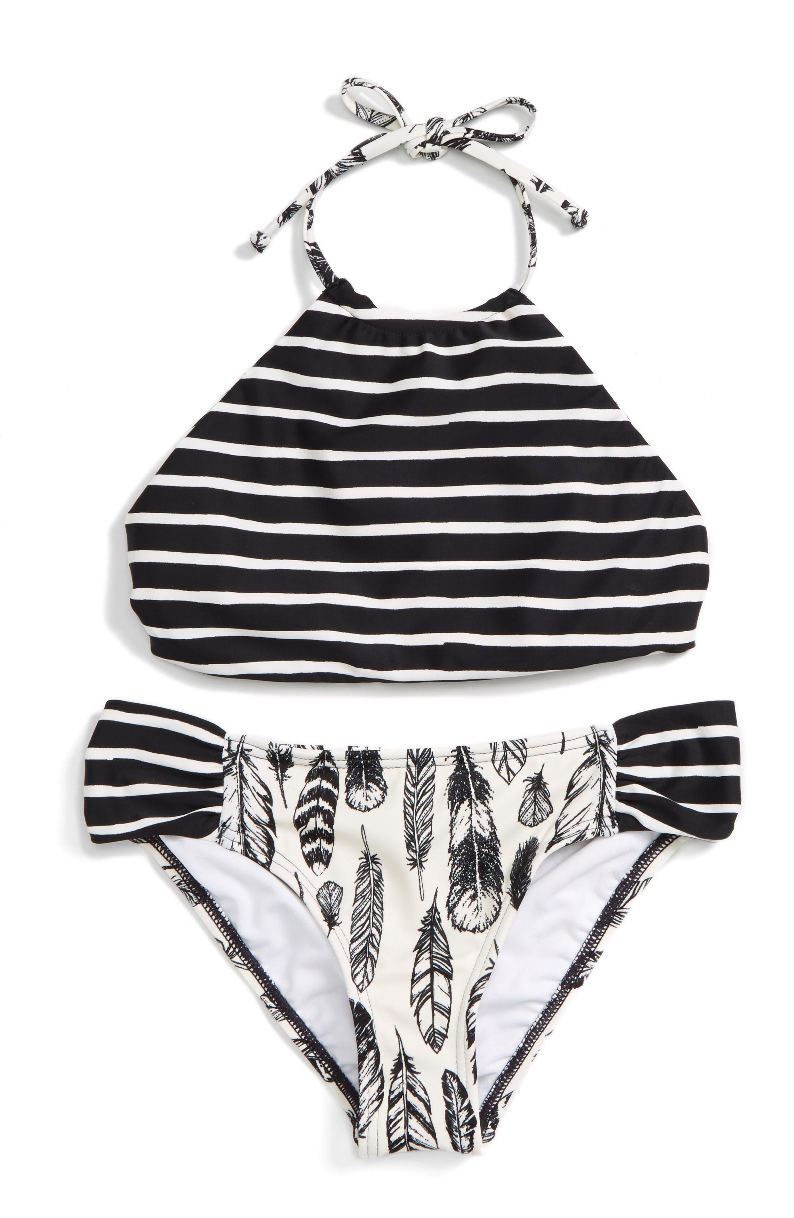 Alternate Image 2  - Billabong Fly Away Two-Piece Reversible Swimsuit (Big Girls)