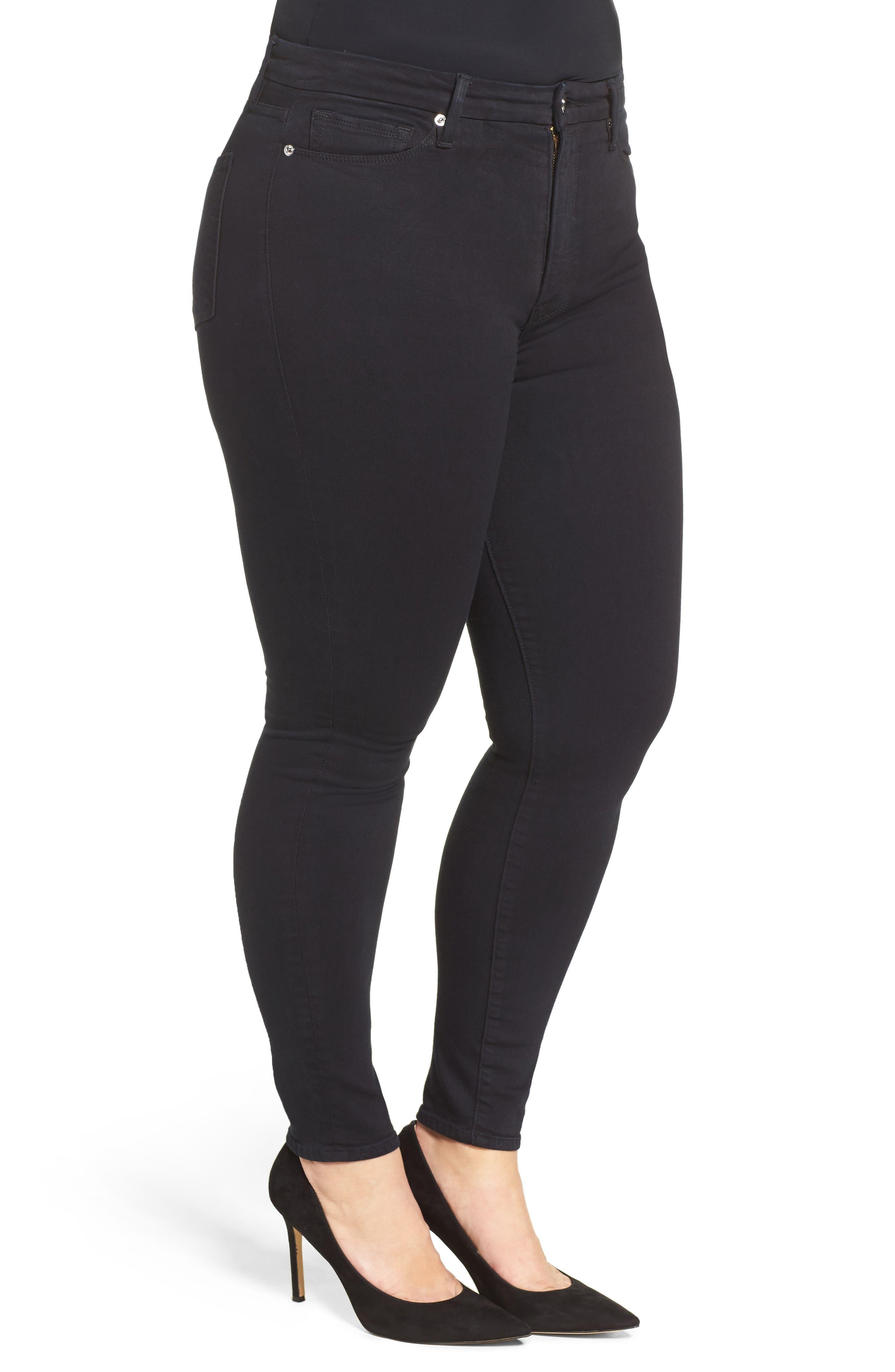 Alternate Image 7  - Good American Good Waist High Rise Skinny Jeans (Black 004)