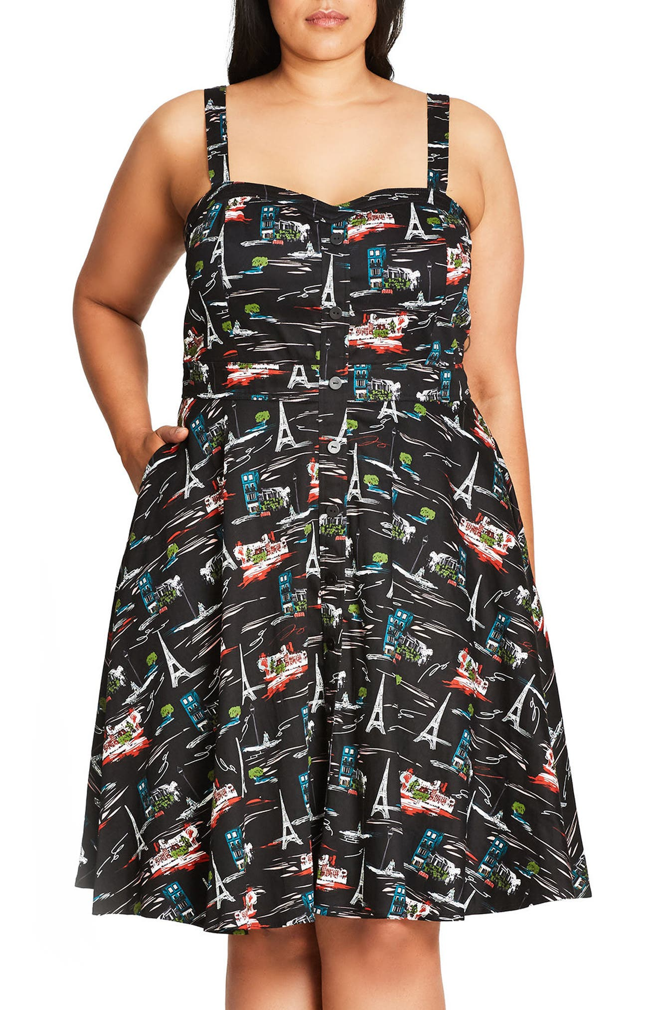Parisian Chic Print Fit & Flare Sundress,                         Main,                         color, Black
