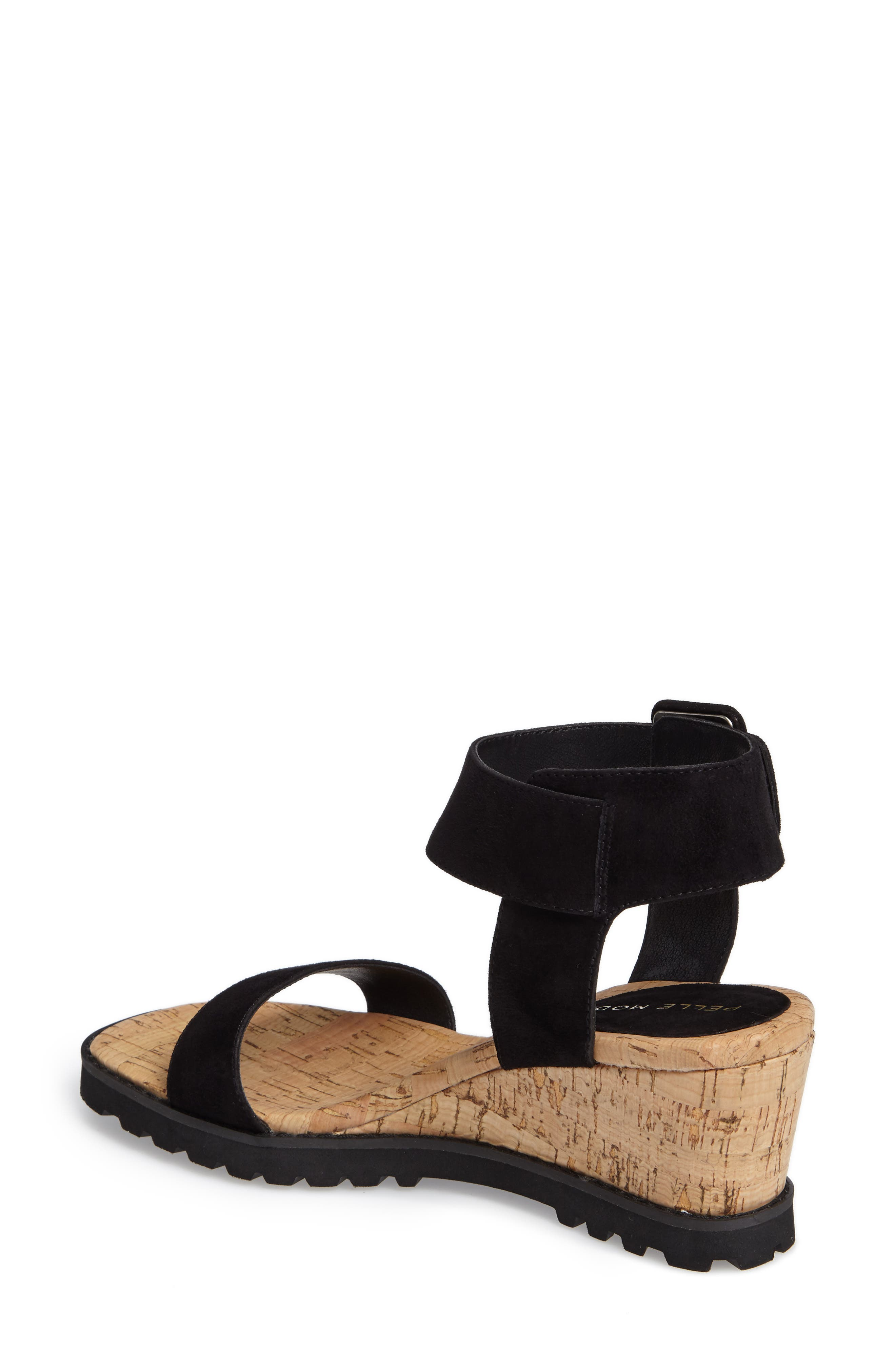 Rian Wedge Sandal,                             Alternate thumbnail 2, color,                             Black Leather