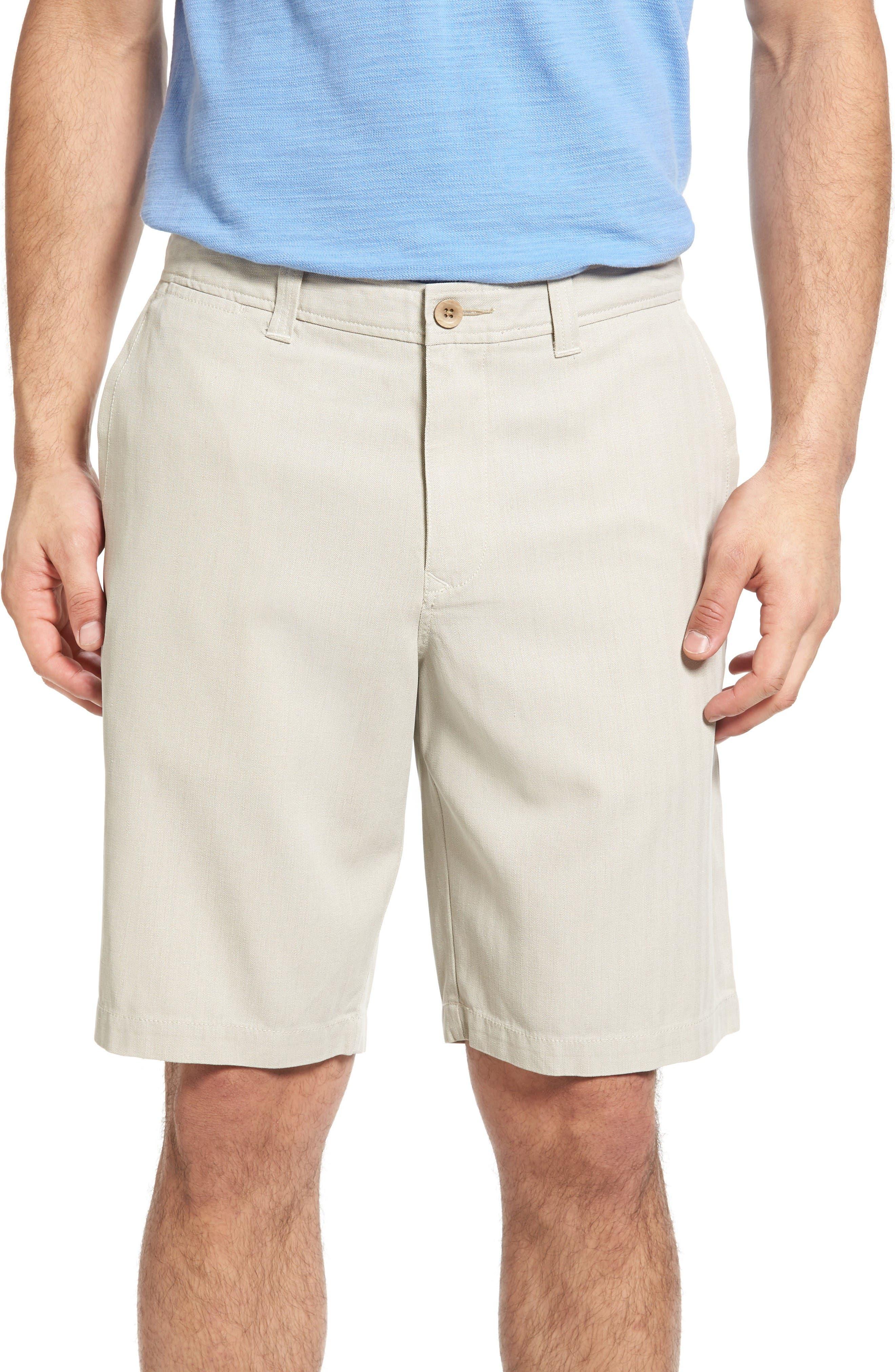 Havana Herringbone Silk Blend Chino Shorts,                             Main thumbnail 1, color,                             Khaki Sand