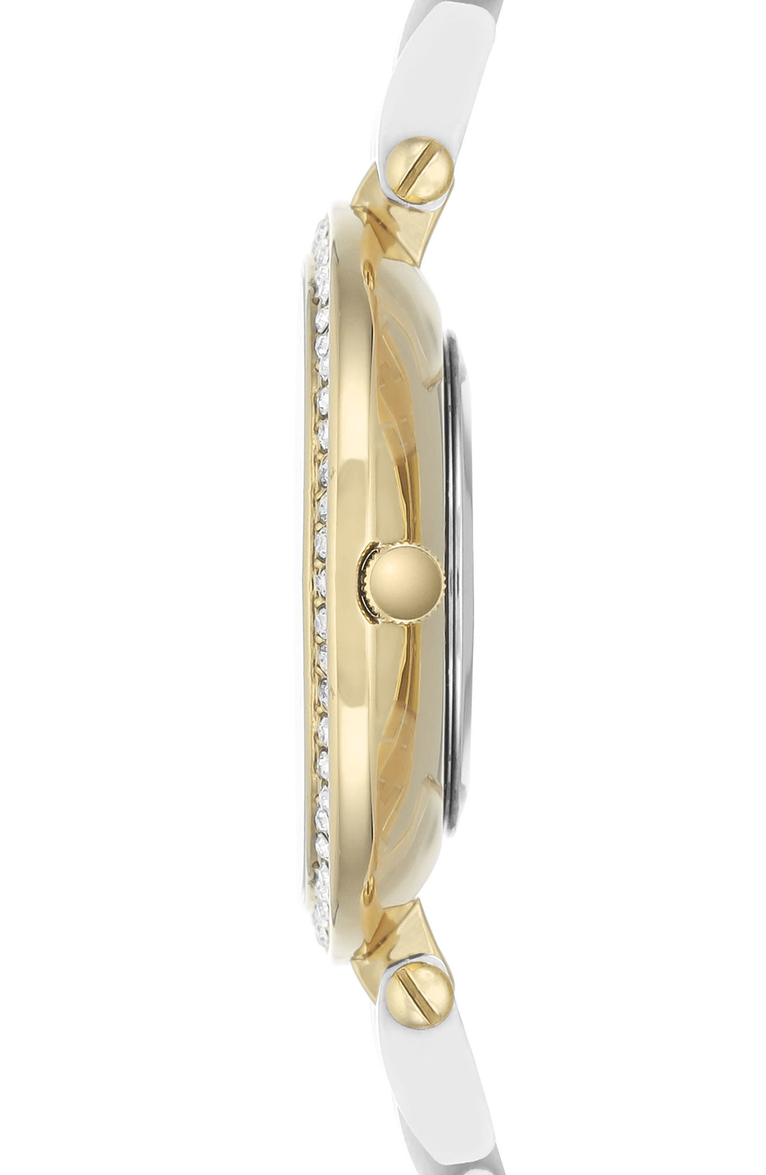 Bracelet Watch, 34mm,                             Alternate thumbnail 3, color,                             White/ Gold