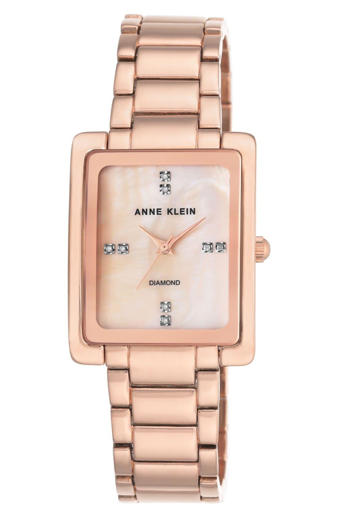 Alternate Image 1 Selected - Anne Klein Diamond Bracelet Watch, 28mm x 35mm