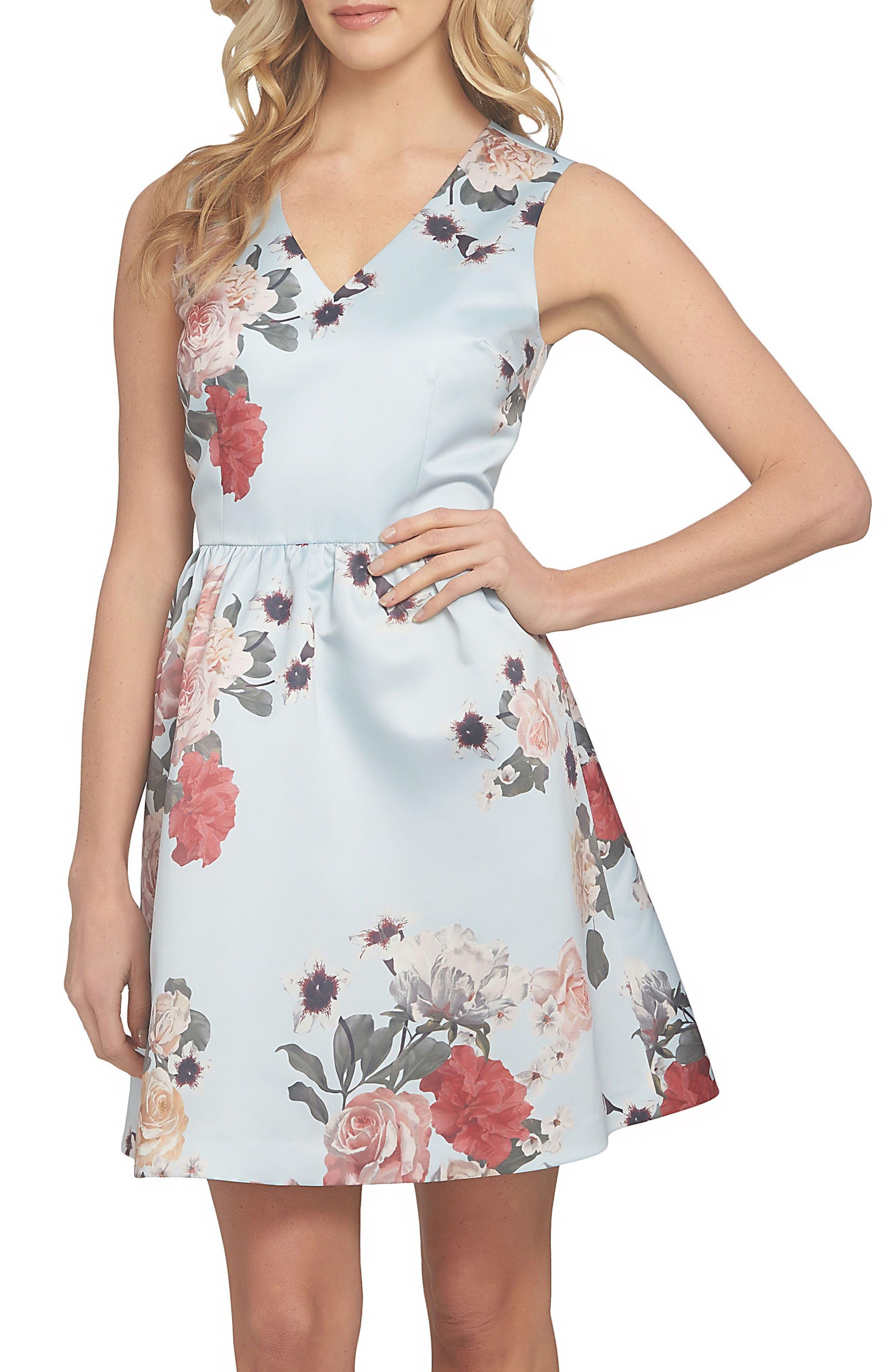 Rose Fit & Flare Dress,                         Main,                         color, Light Sterling