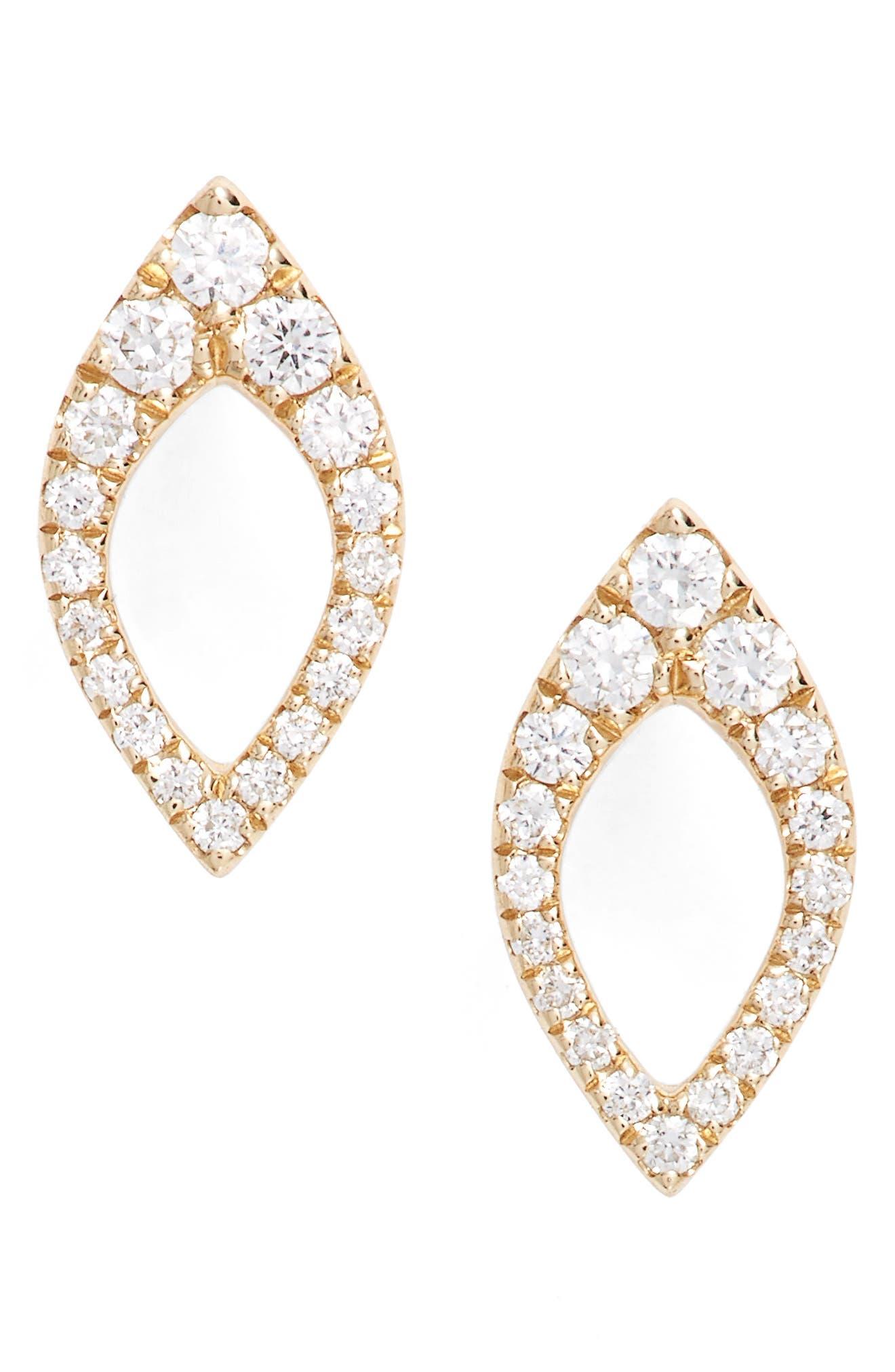 Main Image - Dana Rebecca Designs Marquise Diamond Studs