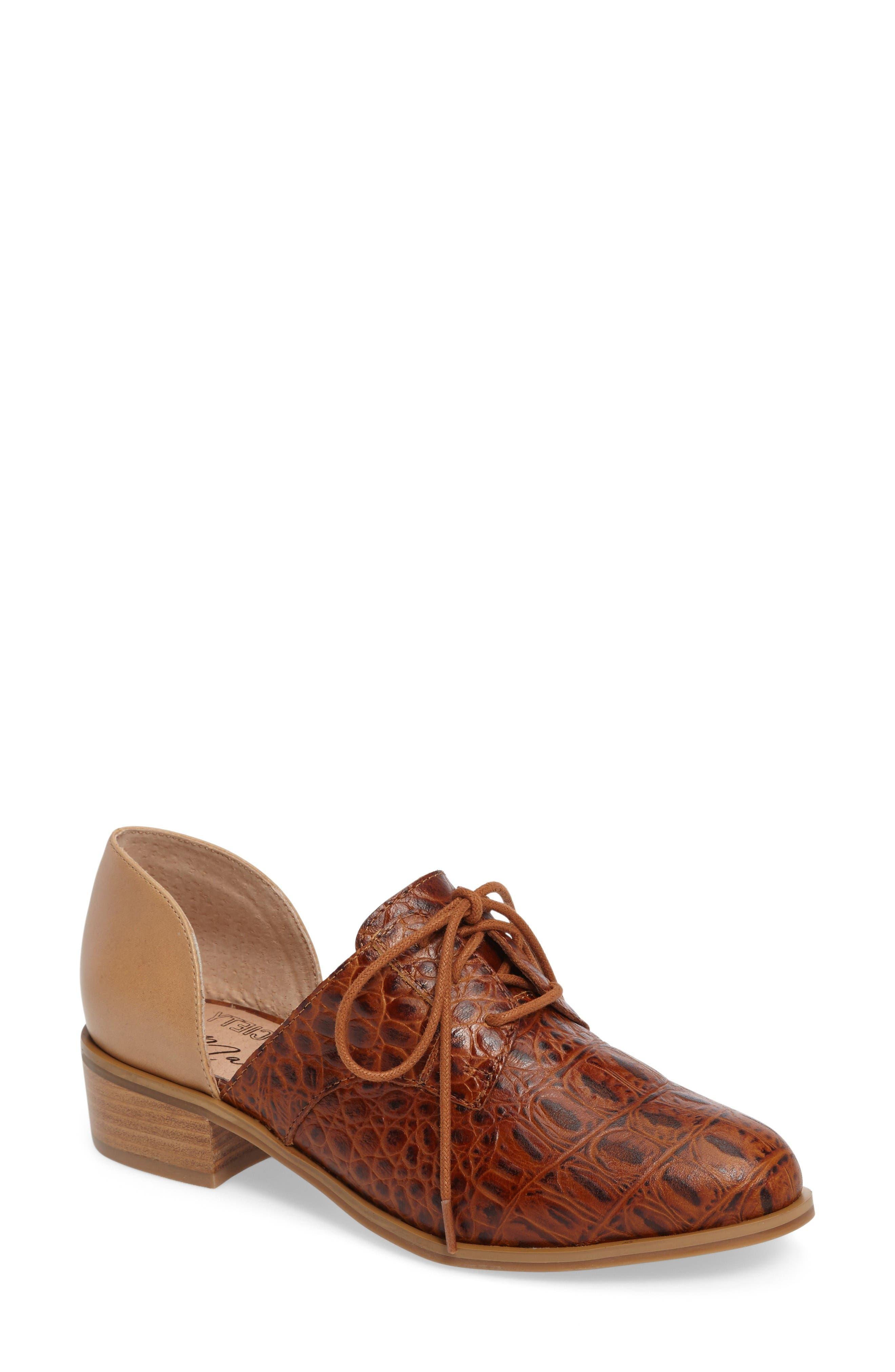 Amuse Me Cutout Oxford,                         Main,                         color, Tan Leather