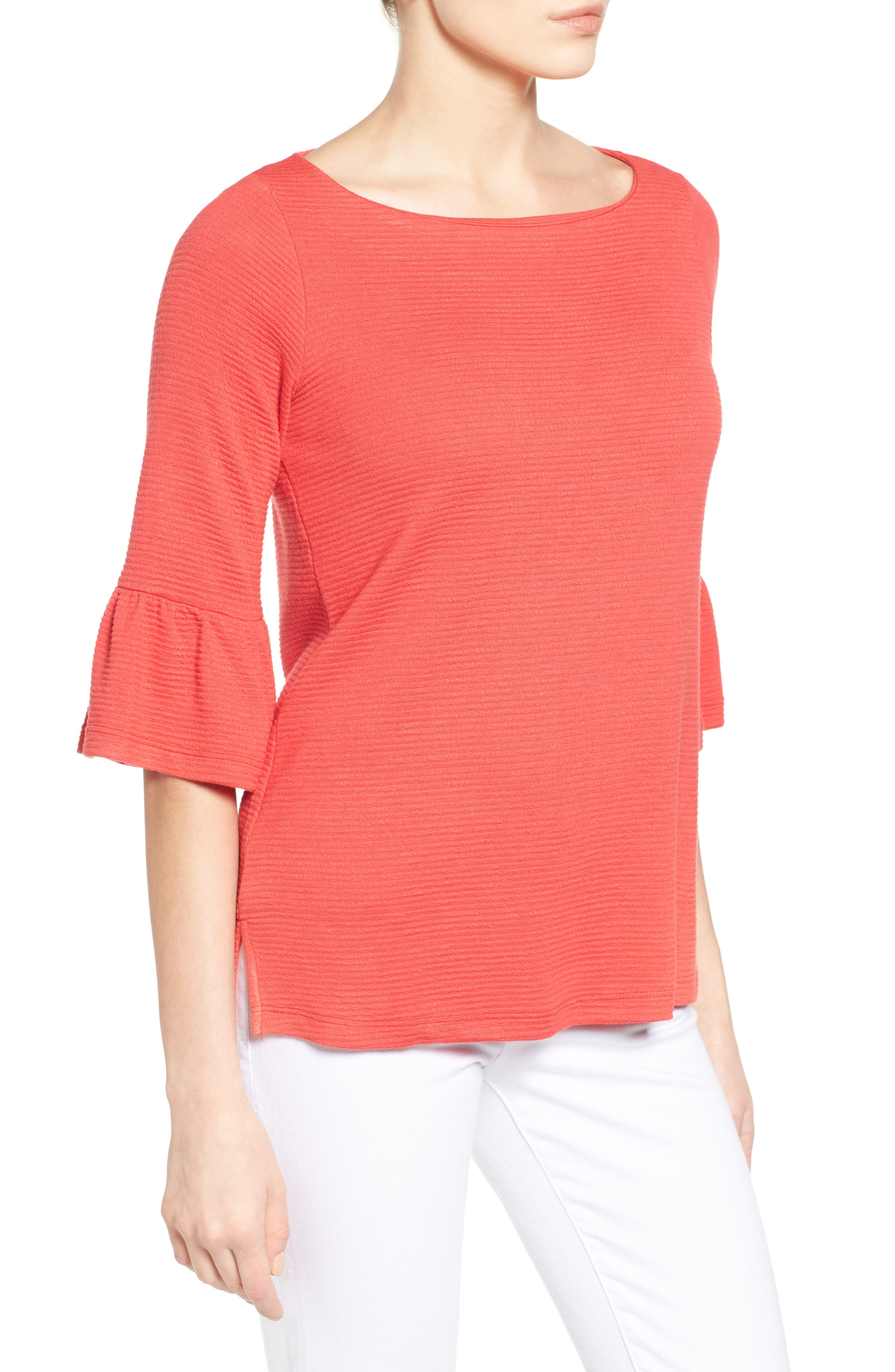 Alternate Image 3  - Pleione Stripe Knit Bell Sleeve Top (Regular & Petite)