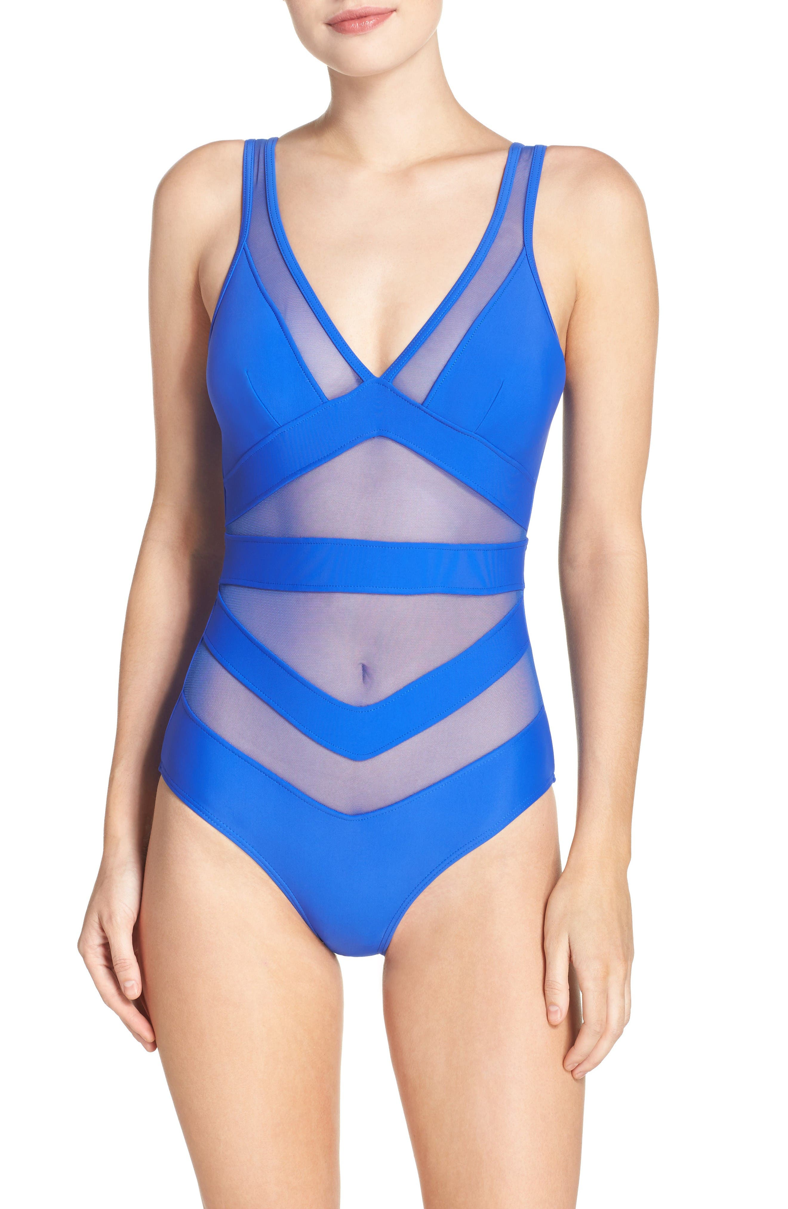 Main Image - Ted Baker London Illiana Mesh Detail One-Piece Swimsuit