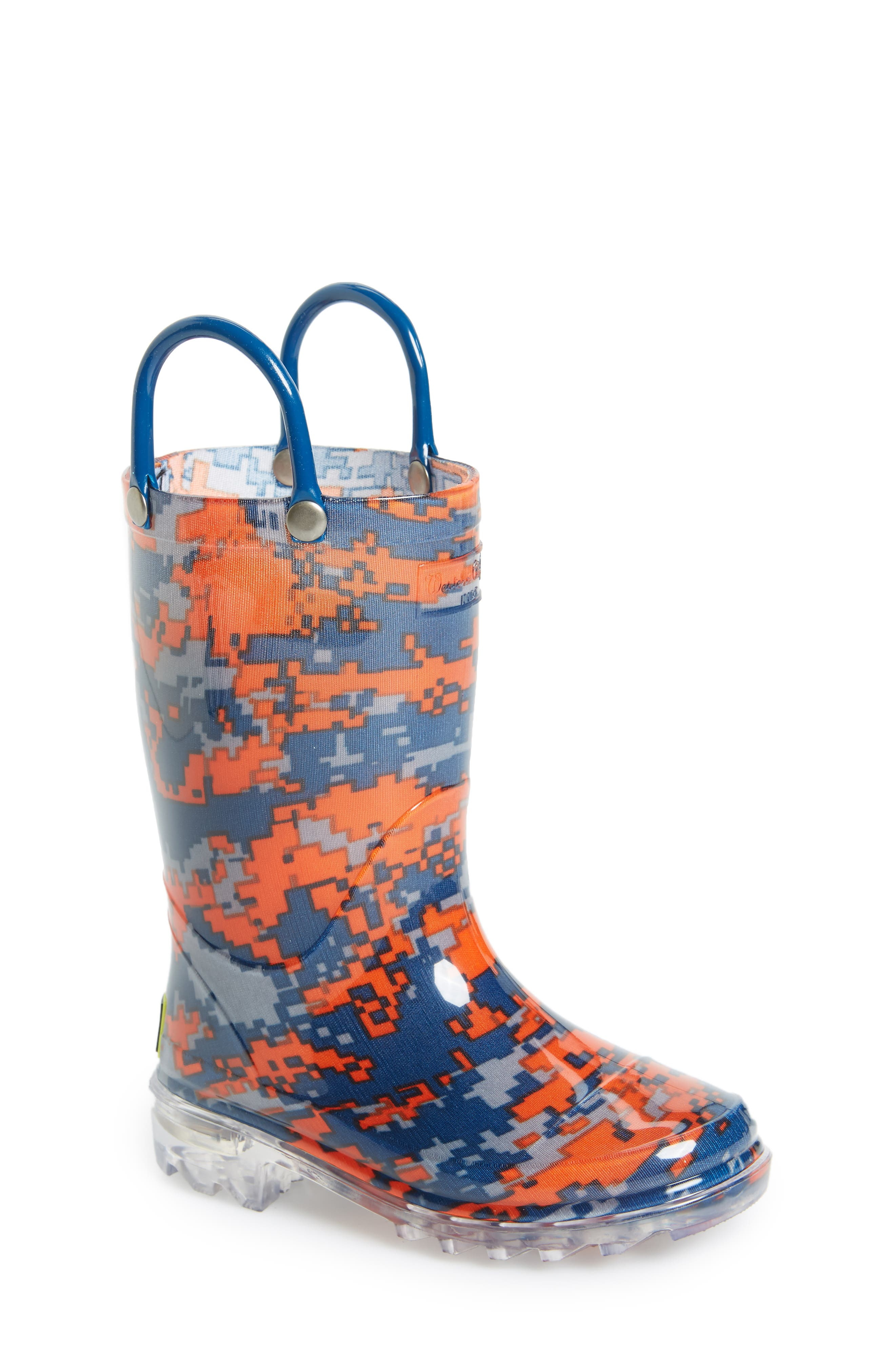 Digital Camo Light-Up Rain Boot,                             Main thumbnail 1, color,                             Navy