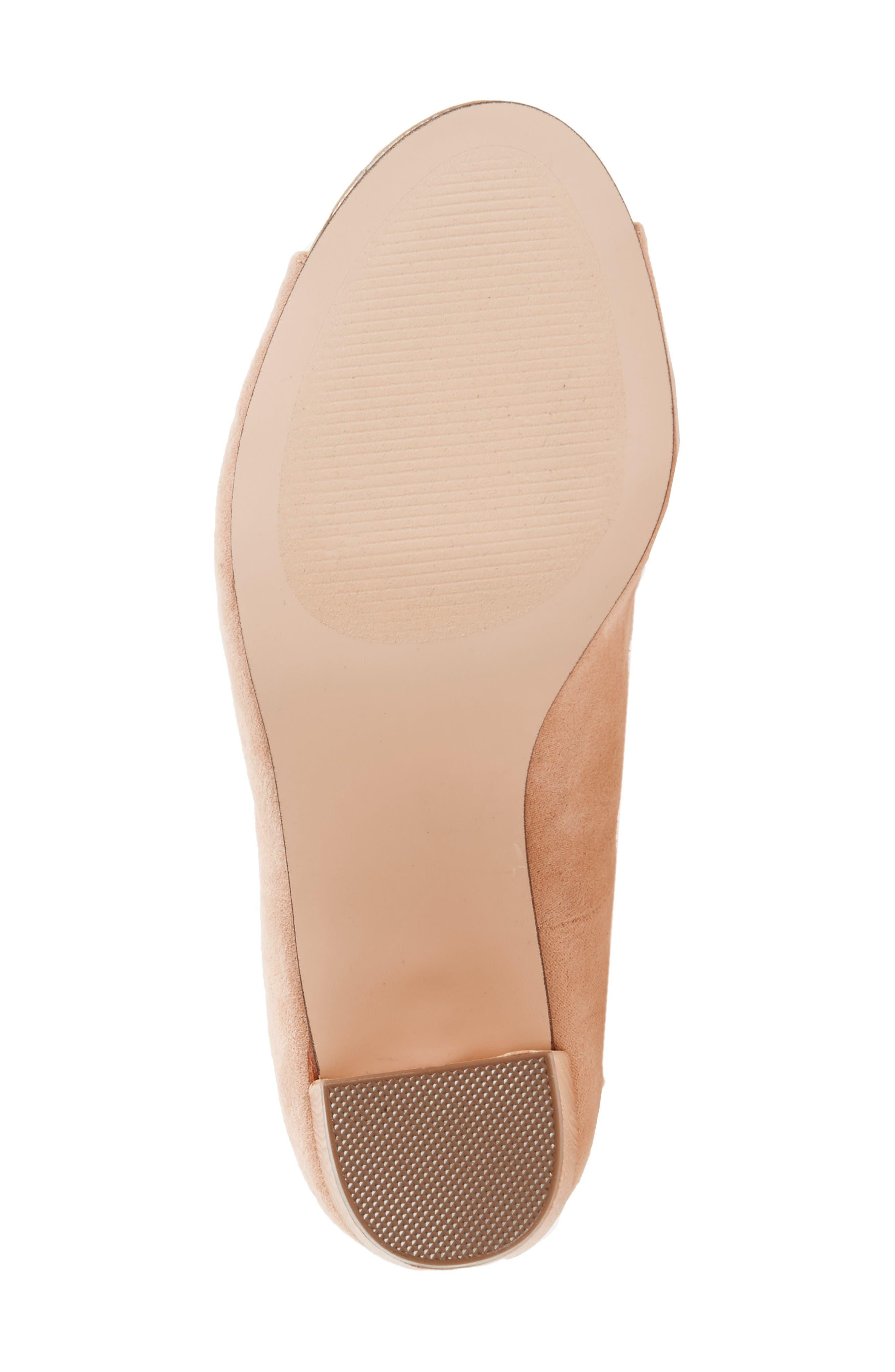Vikki Block Heel Sandal,                             Alternate thumbnail 4, color,                             Nude Faux Suede