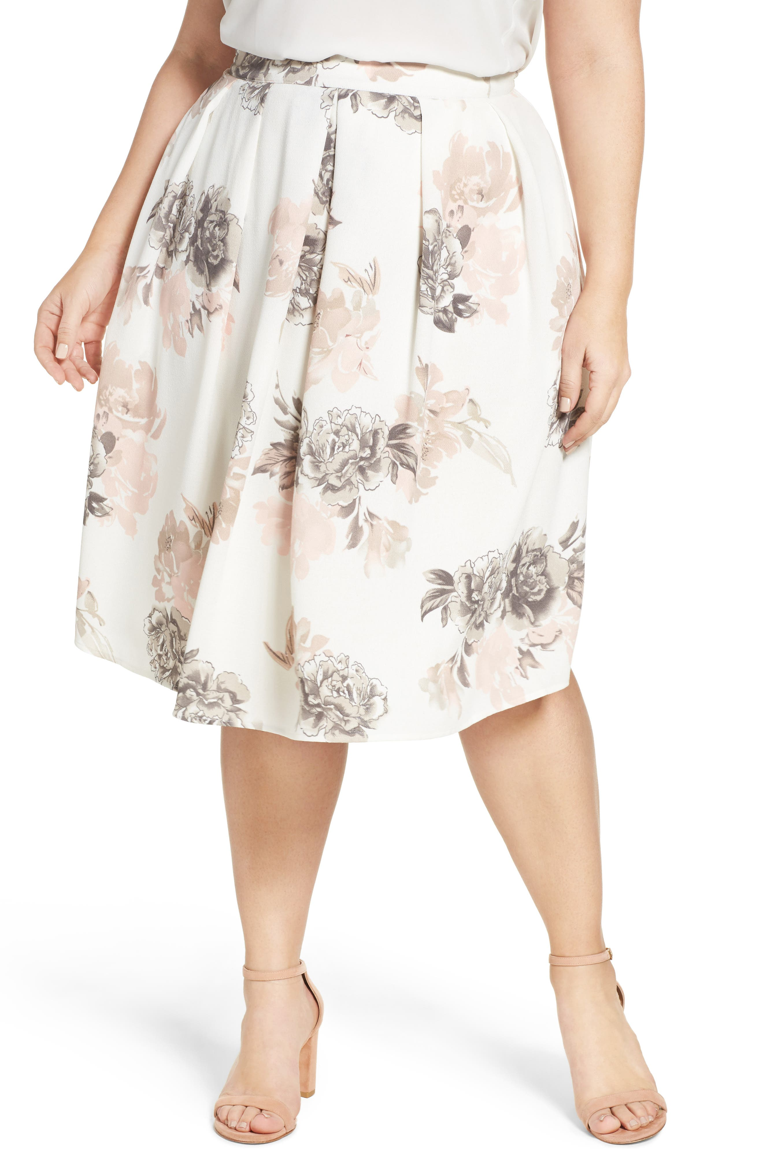 City Chic Floral Whimsy Pleat Skirt (Plus Size)