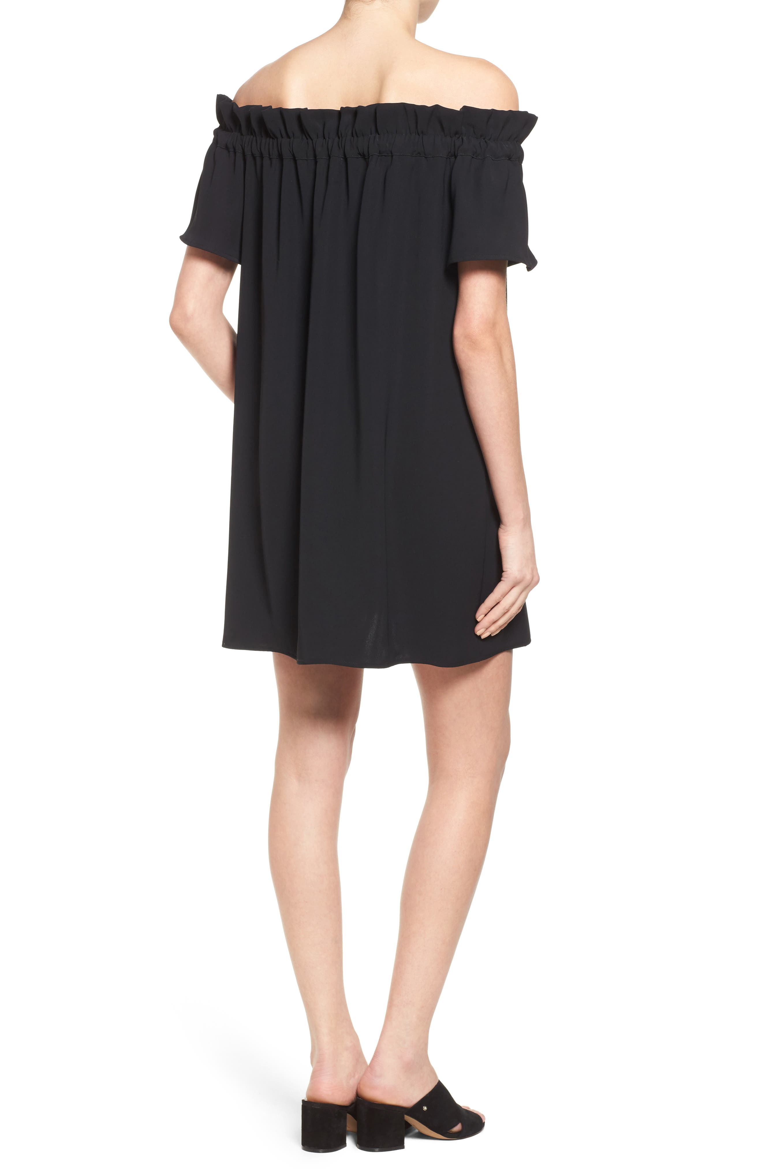 Off the Shoulder Dress,                             Alternate thumbnail 2, color,                             Black