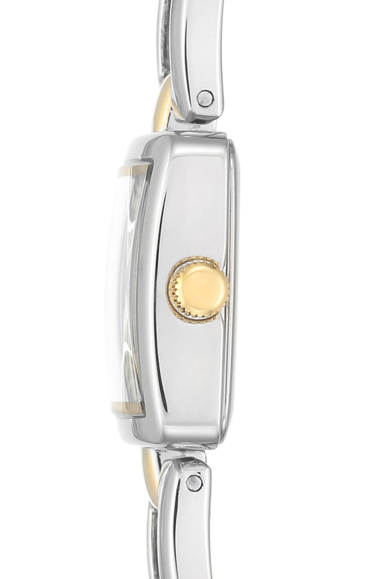 Square Bracelet Watch, 20mm,                             Alternate thumbnail 3, color,                             Silver/ Gold