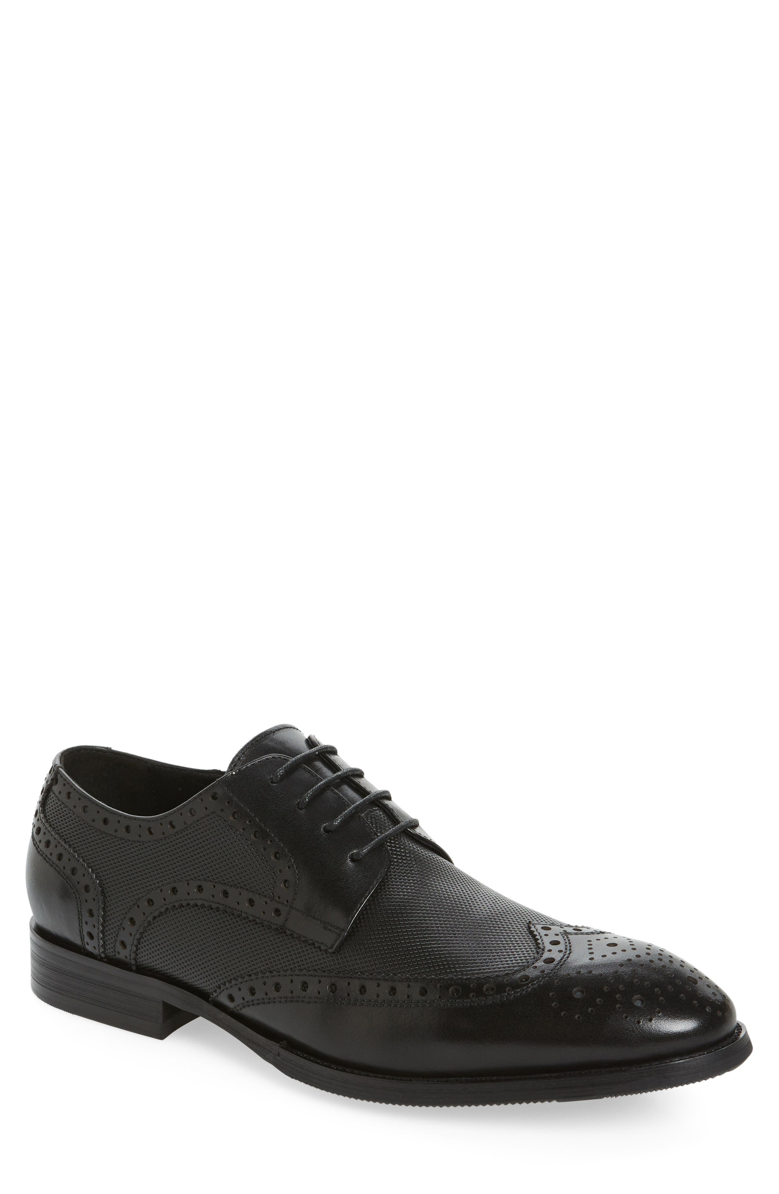 Rossini Wingtip,                             Main thumbnail 1, color,                             Black Leather