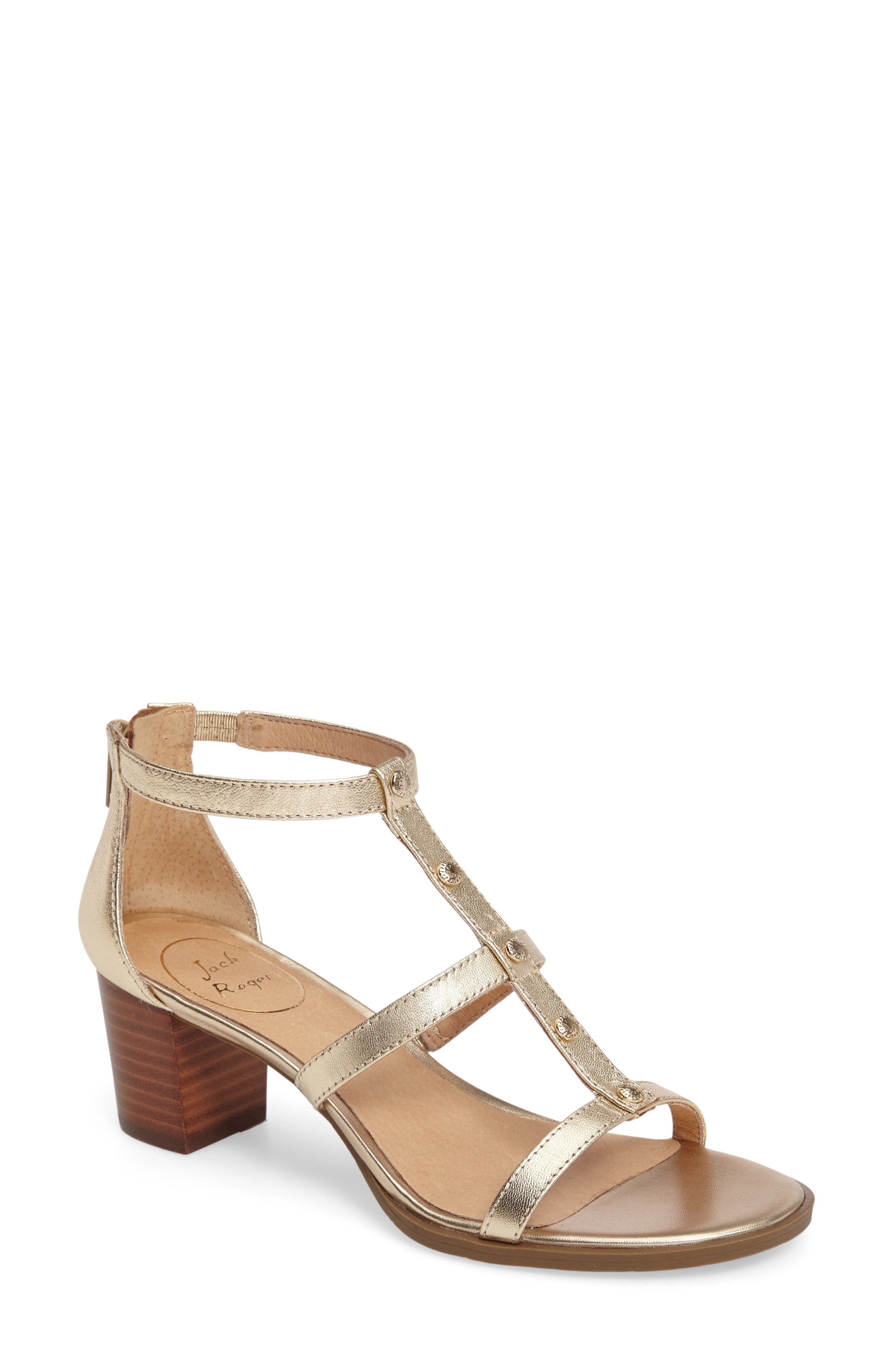 Julia Block Heel Sandal,                         Main,                         color, Platinum Leather