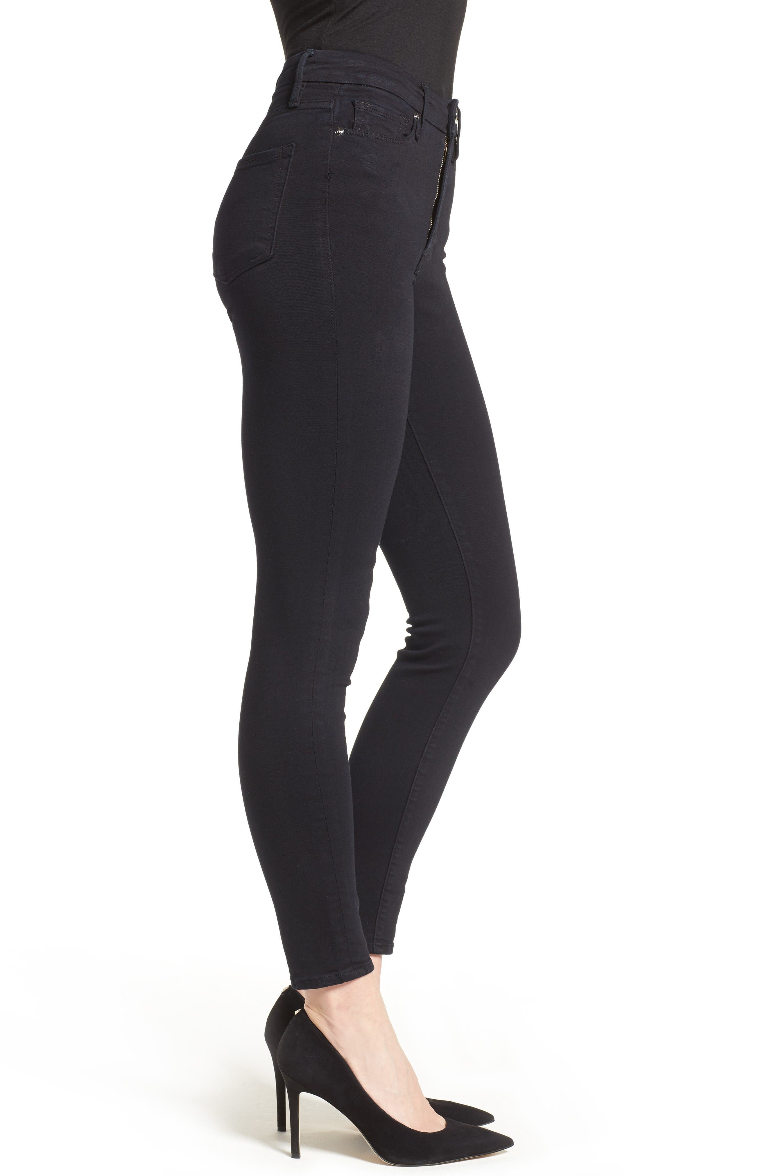 Alternate Image 3  - Good American Good Waist High Rise Skinny Jeans (Black 004)