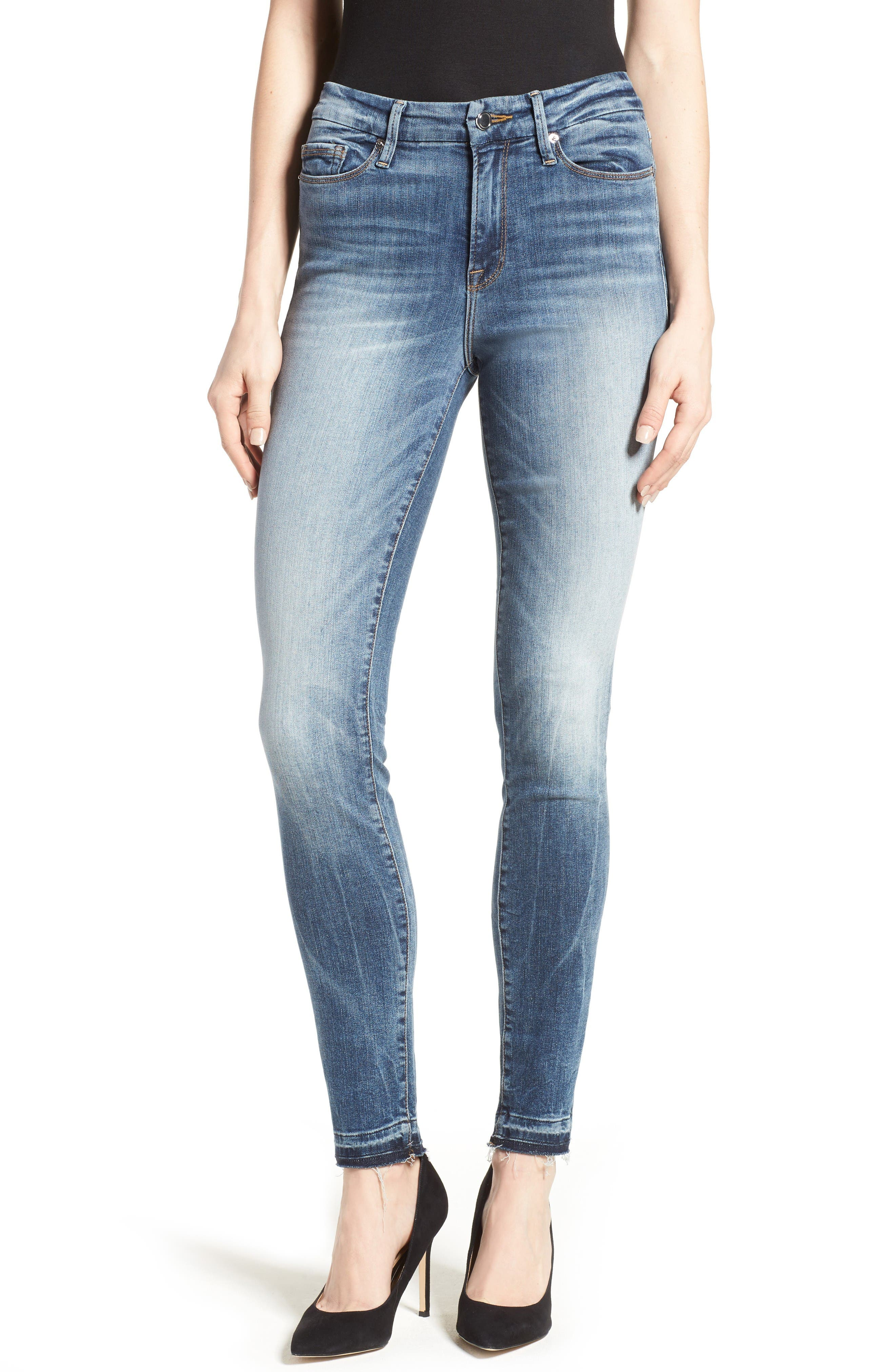 Good Legs High Rise Released Hem Skinny Jeans,                         Main,                         color, Blue017