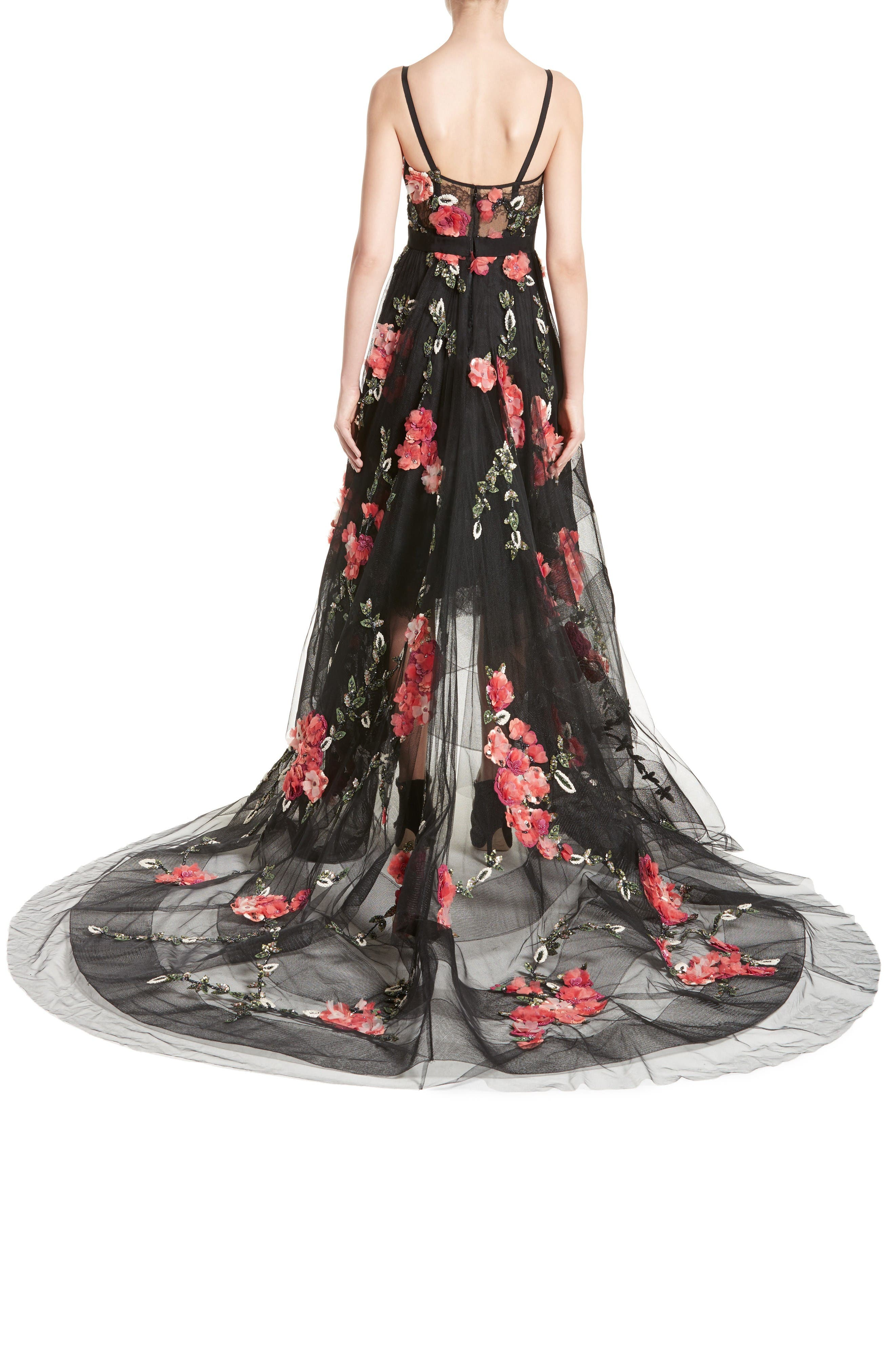 Alternate Image 2  - Marchesa Embellished Tulle Gown