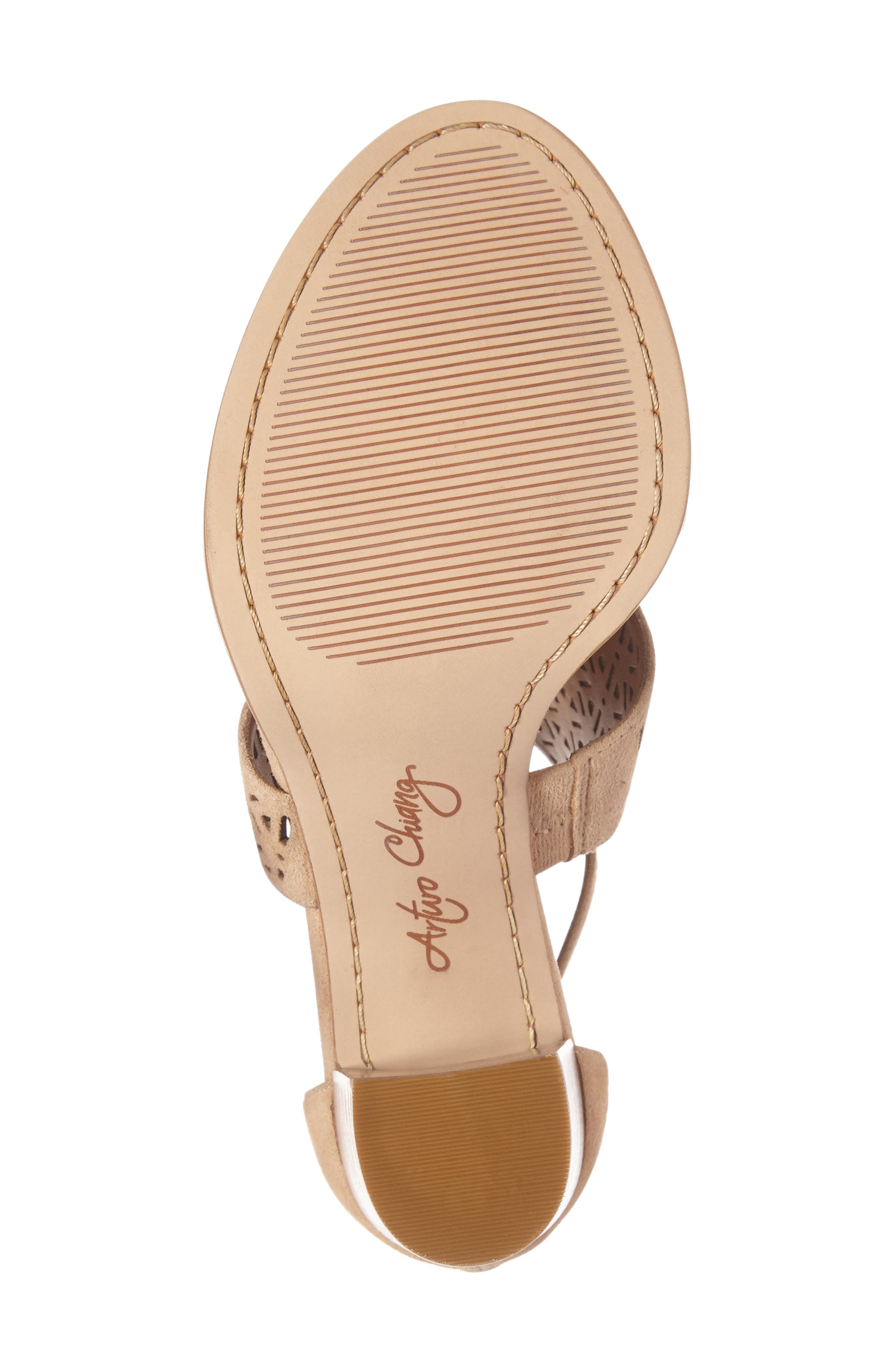 Edythe Block Heel Sandal,                             Alternate thumbnail 4, color,                             Tan Suede