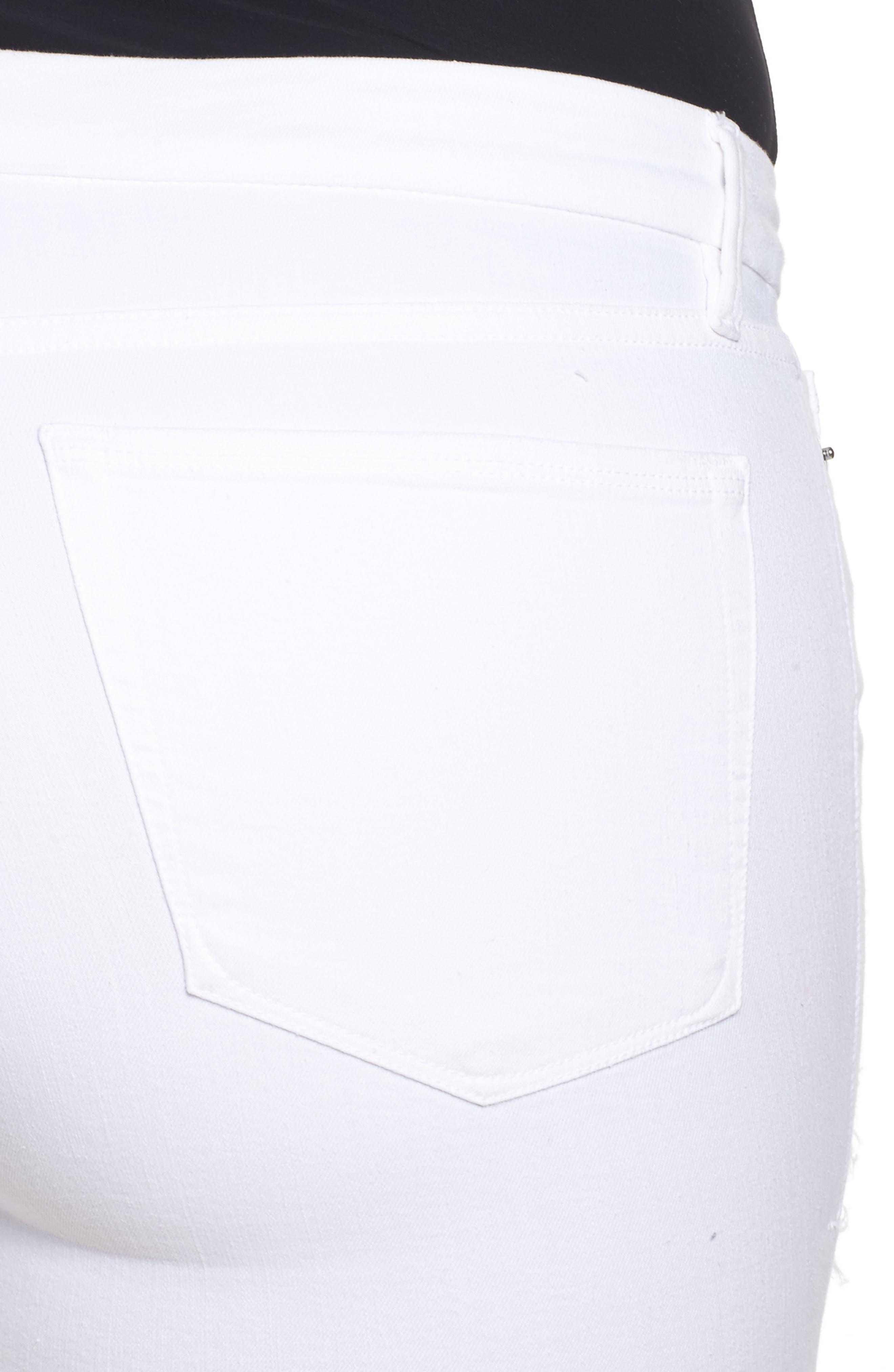 Destroyed Cutoff Denim Shorts,                             Alternate thumbnail 11, color,                             White 004